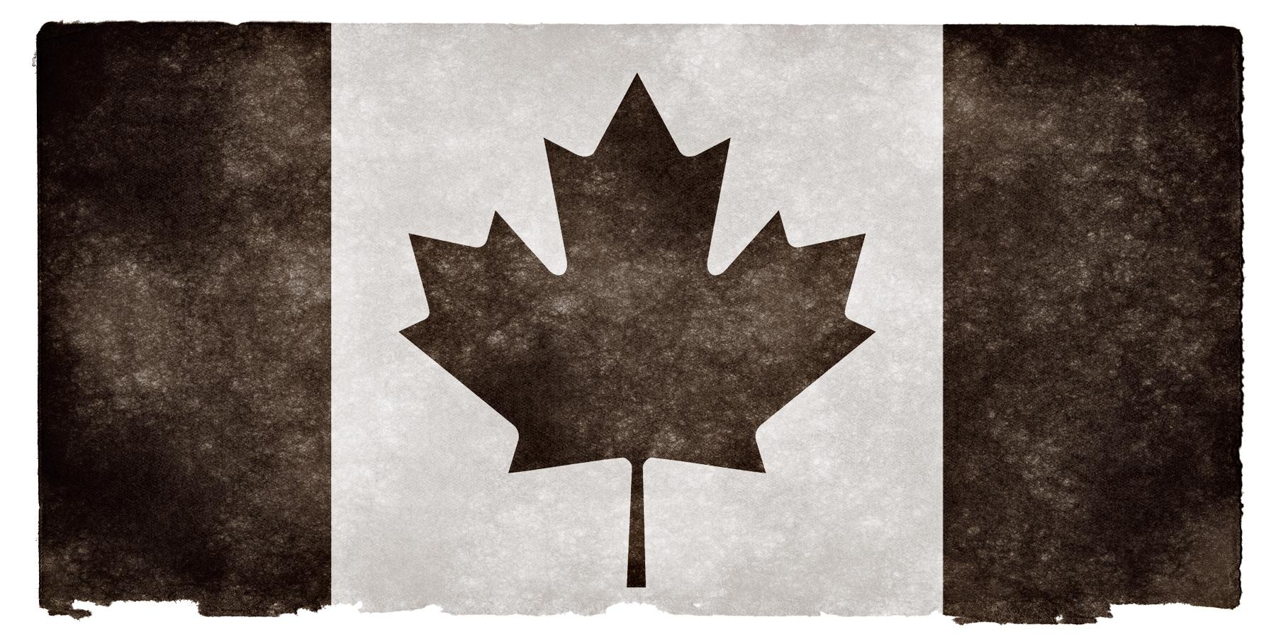 Canada Grunge Flag - Black and White, Aged, Picture, Mono-chromatic, Mono-chrome, HQ Photo