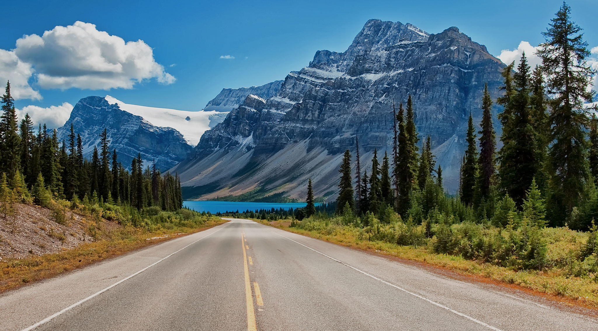 Canada Canadian Rockies road trees lake mountains wallpaper ...