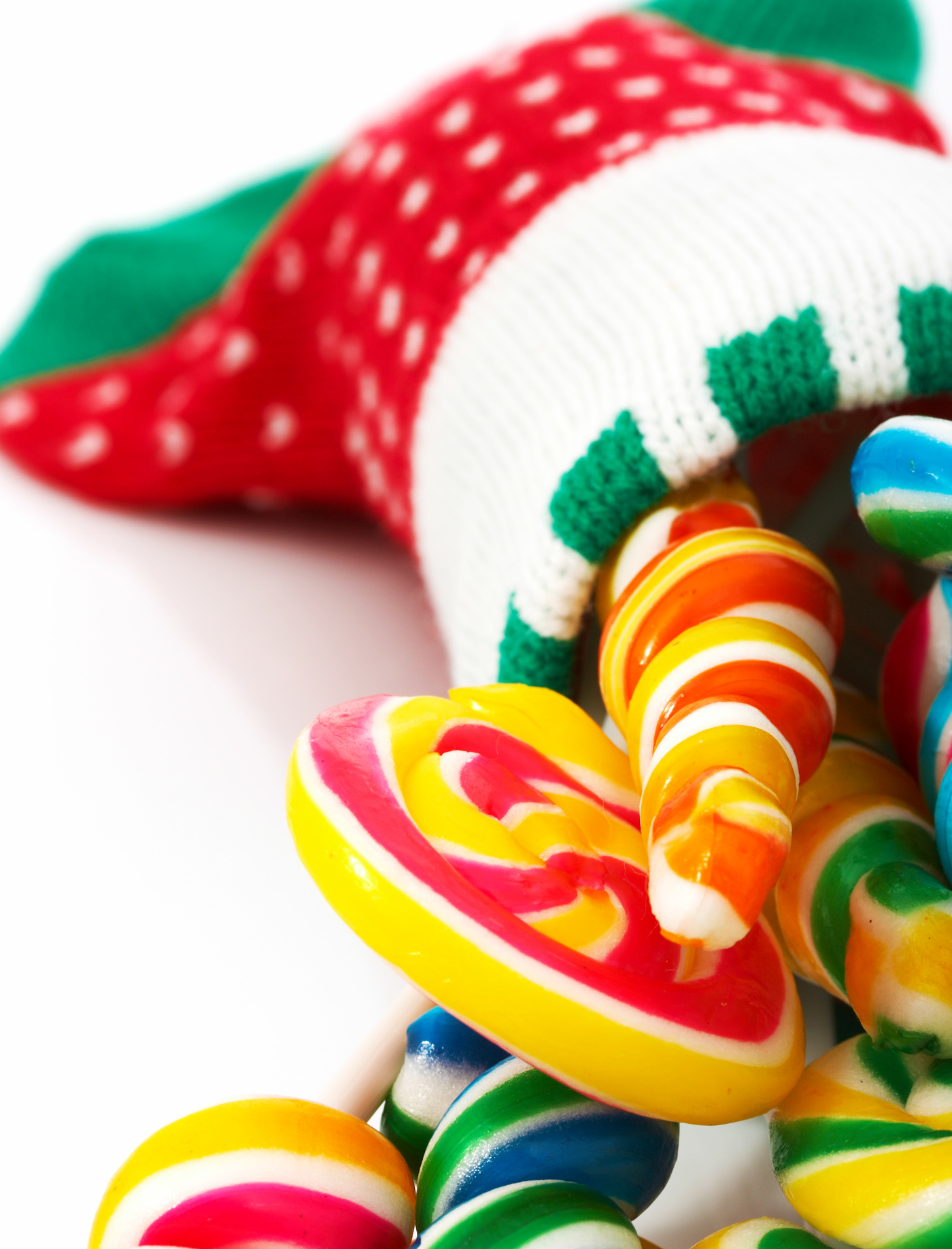 Candies in a christmas sock photo