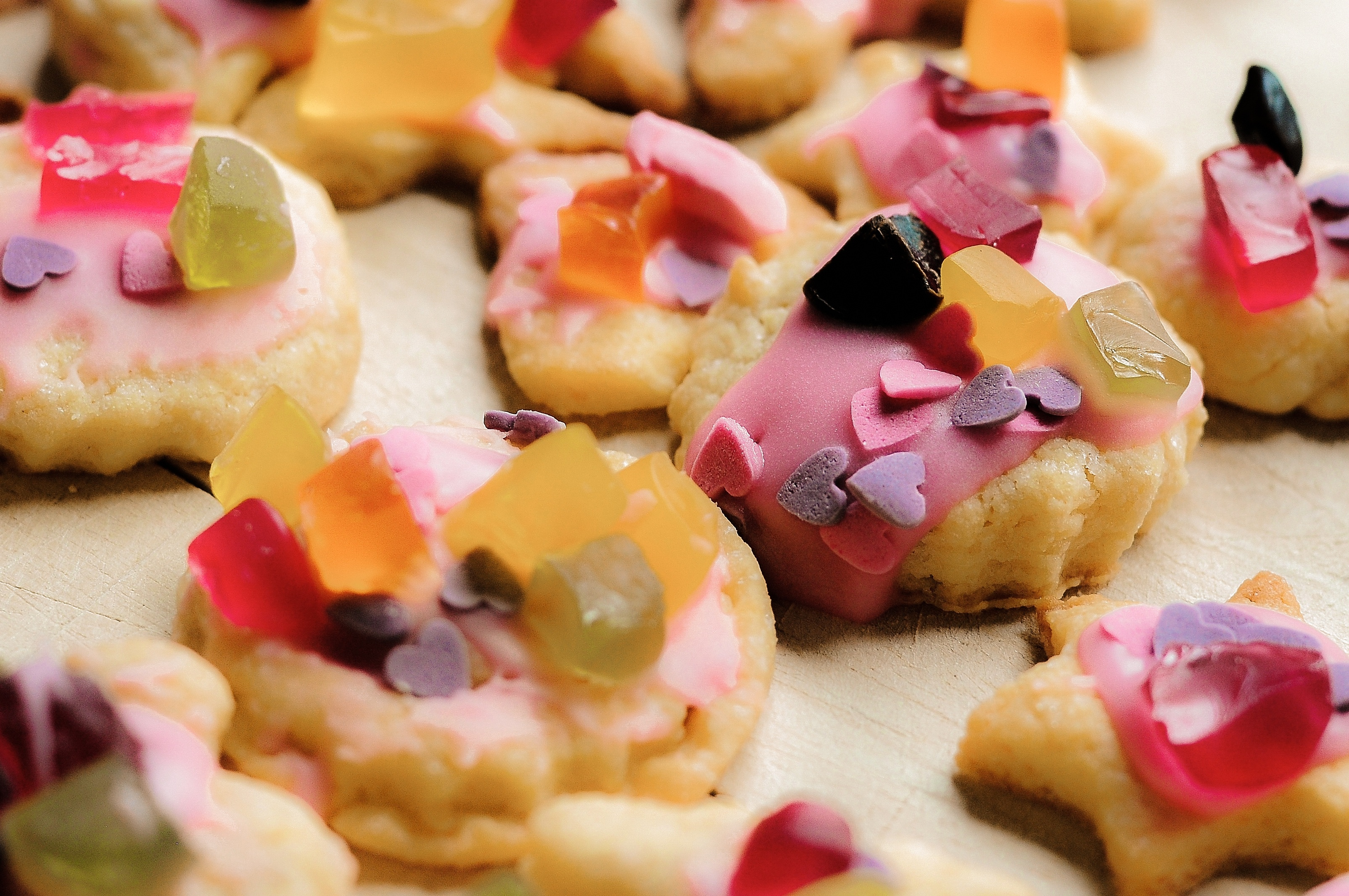 Candies on the cookies photo