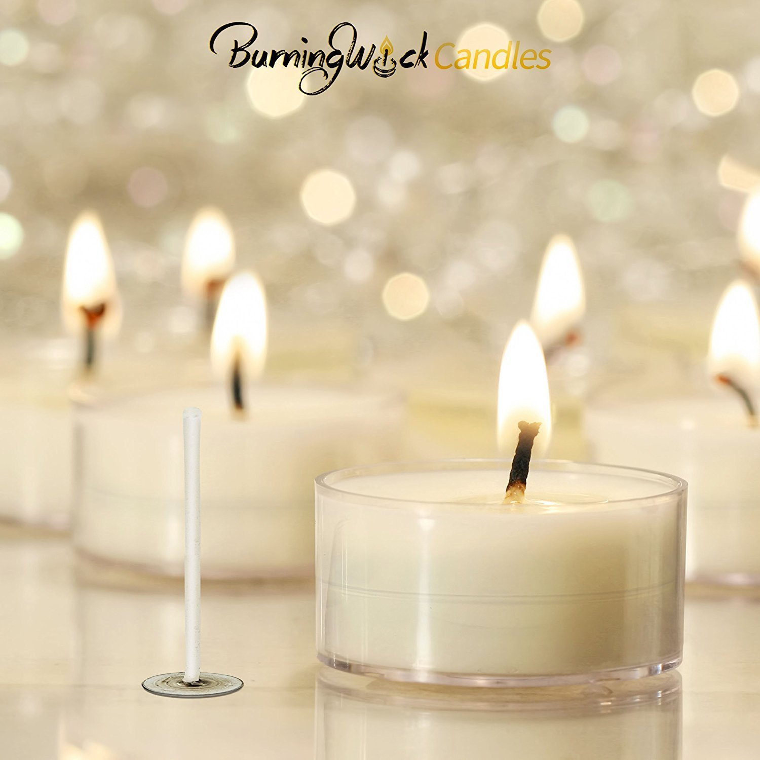 Tea Light Candle Wicks Soy Prewaxed – 100 Pack – Burning Wick Candles