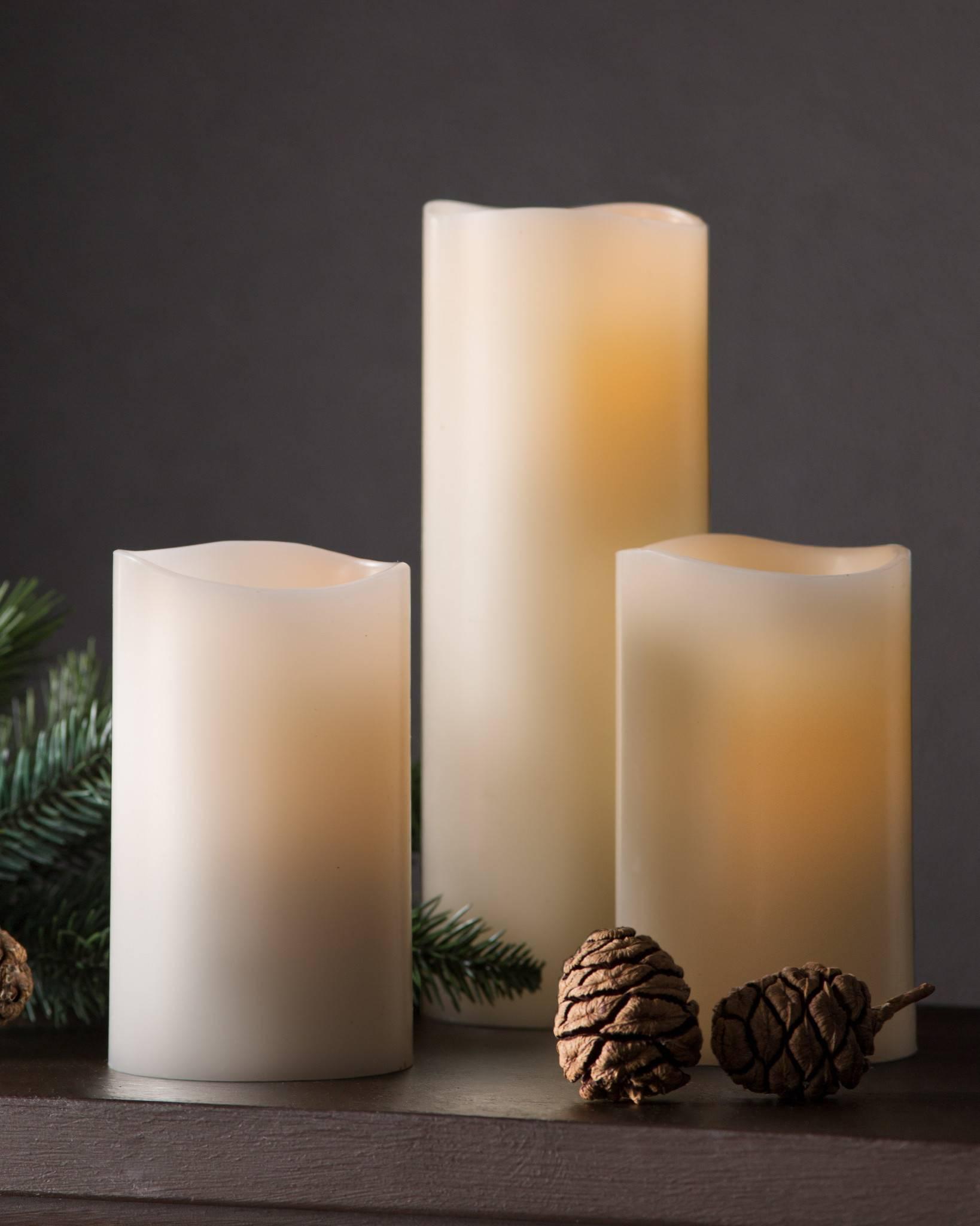 PushWick LED Flameless Pillar Candles, Set of 3   Balsam Hill