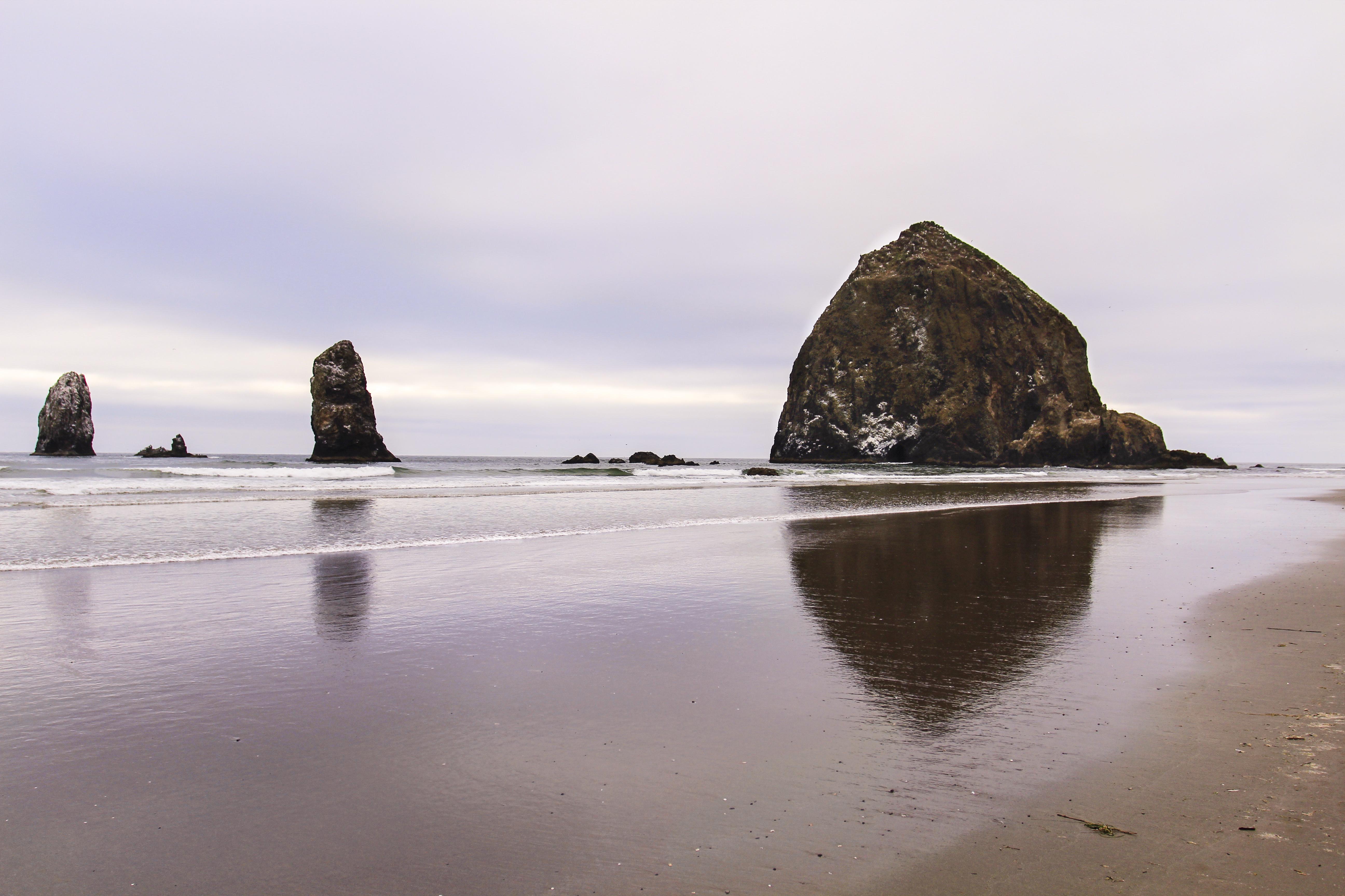Cannon Beach Oregon, Beach, Cannon, Clouds, Coast, HQ Photo