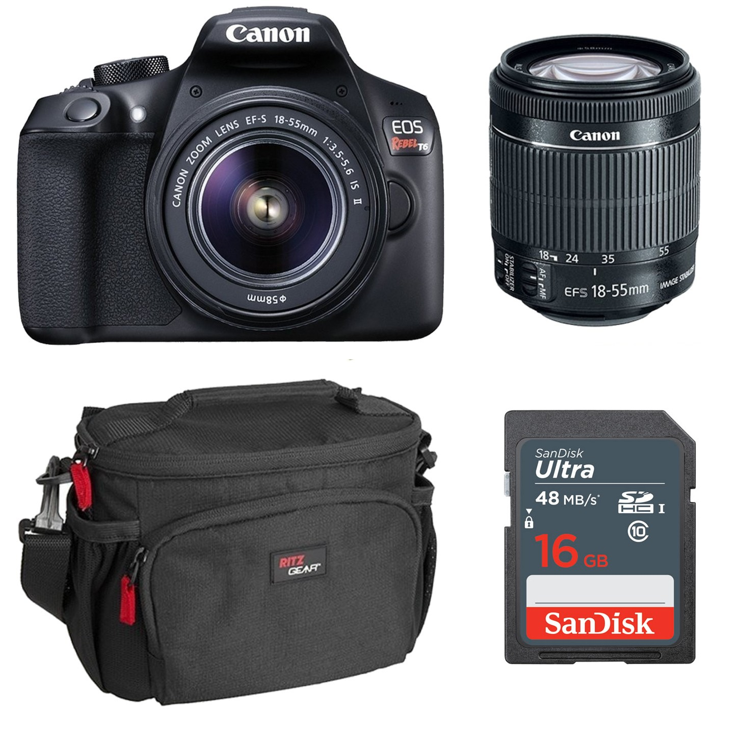 Canon Rebel T6 Bundle with Lens and 14 Bonus Accessories