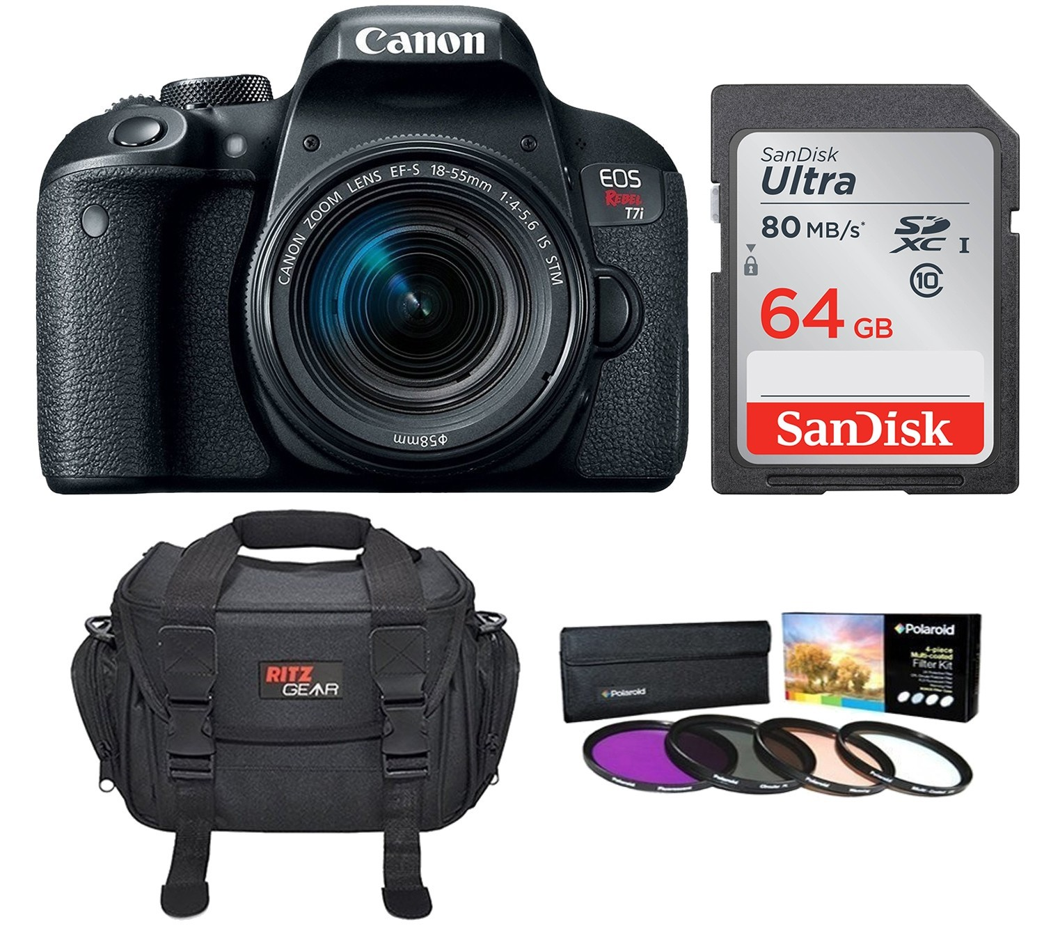 Canon EOS Rebel T7i DSLR with 18-55mm Lens and Accessories