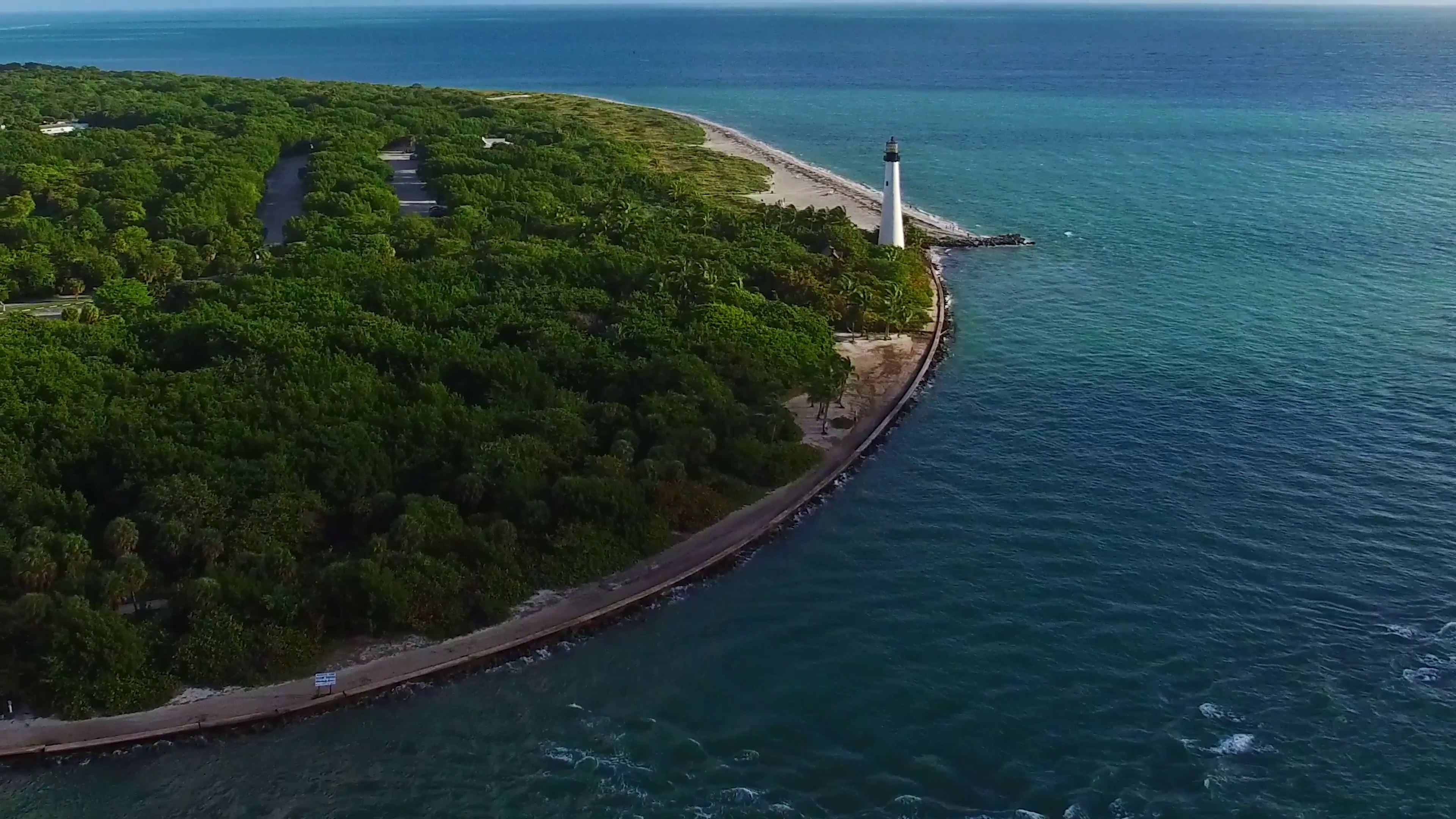 Aerial 4K Cape Florida Lighthouse Bill Baggs State Park Key Biscayne ...