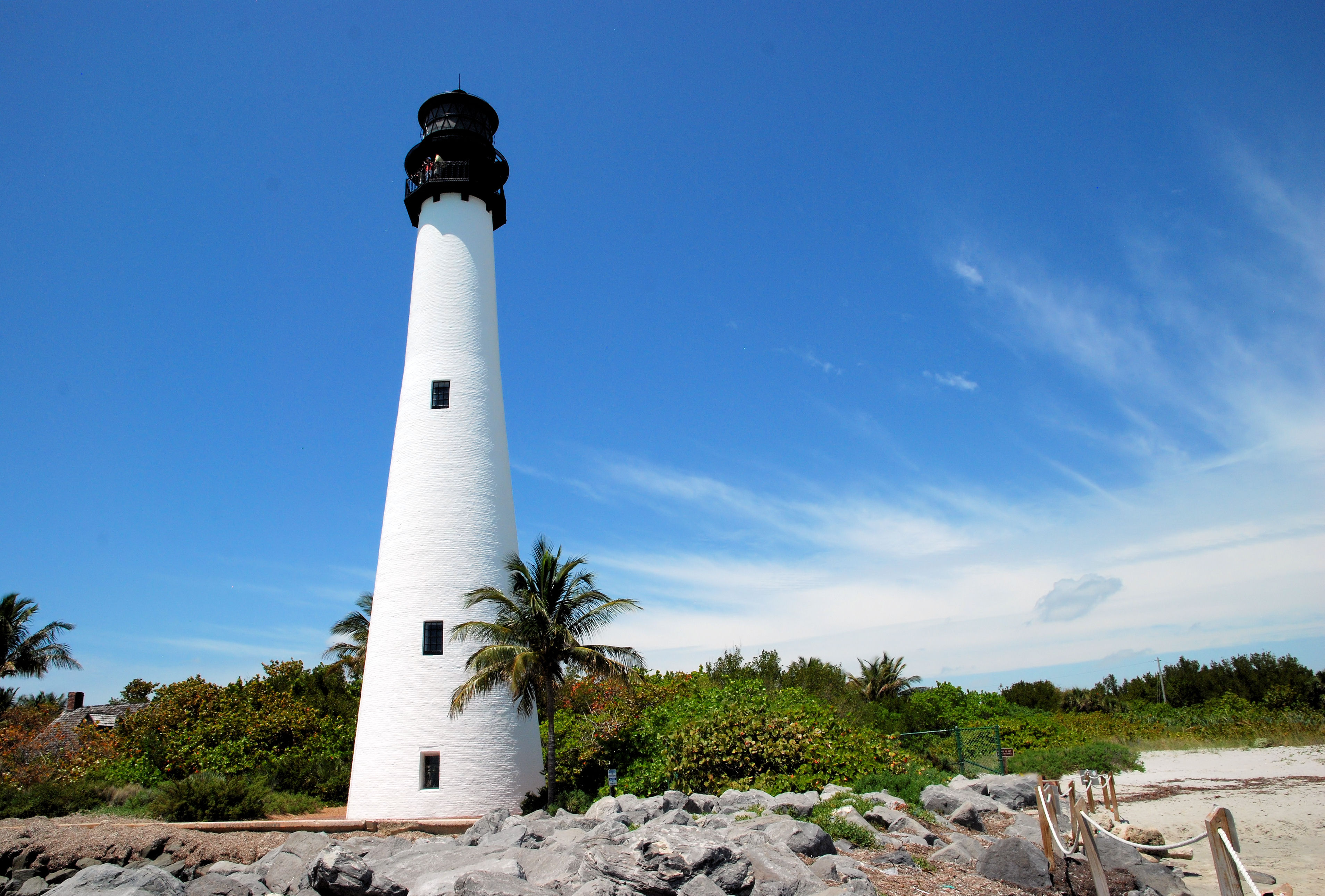Cape Florida Lighthouse, Beach, Clouds, Landscape, Lighthouse, HQ Photo