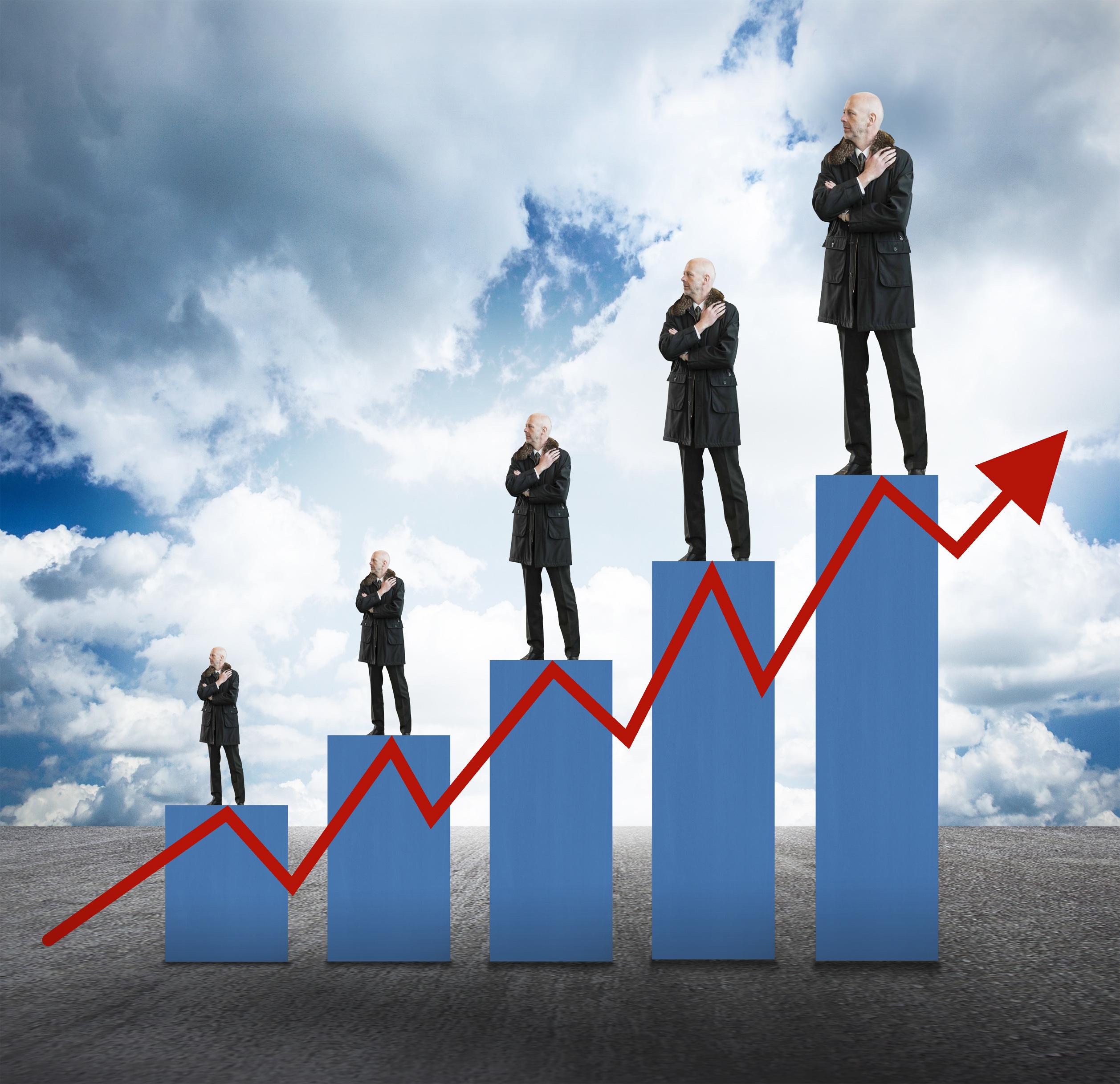 Capital Appreciation - Businessmen on Bar Chart with Arrow, 3d, Management, Positive, Plan, HQ Photo