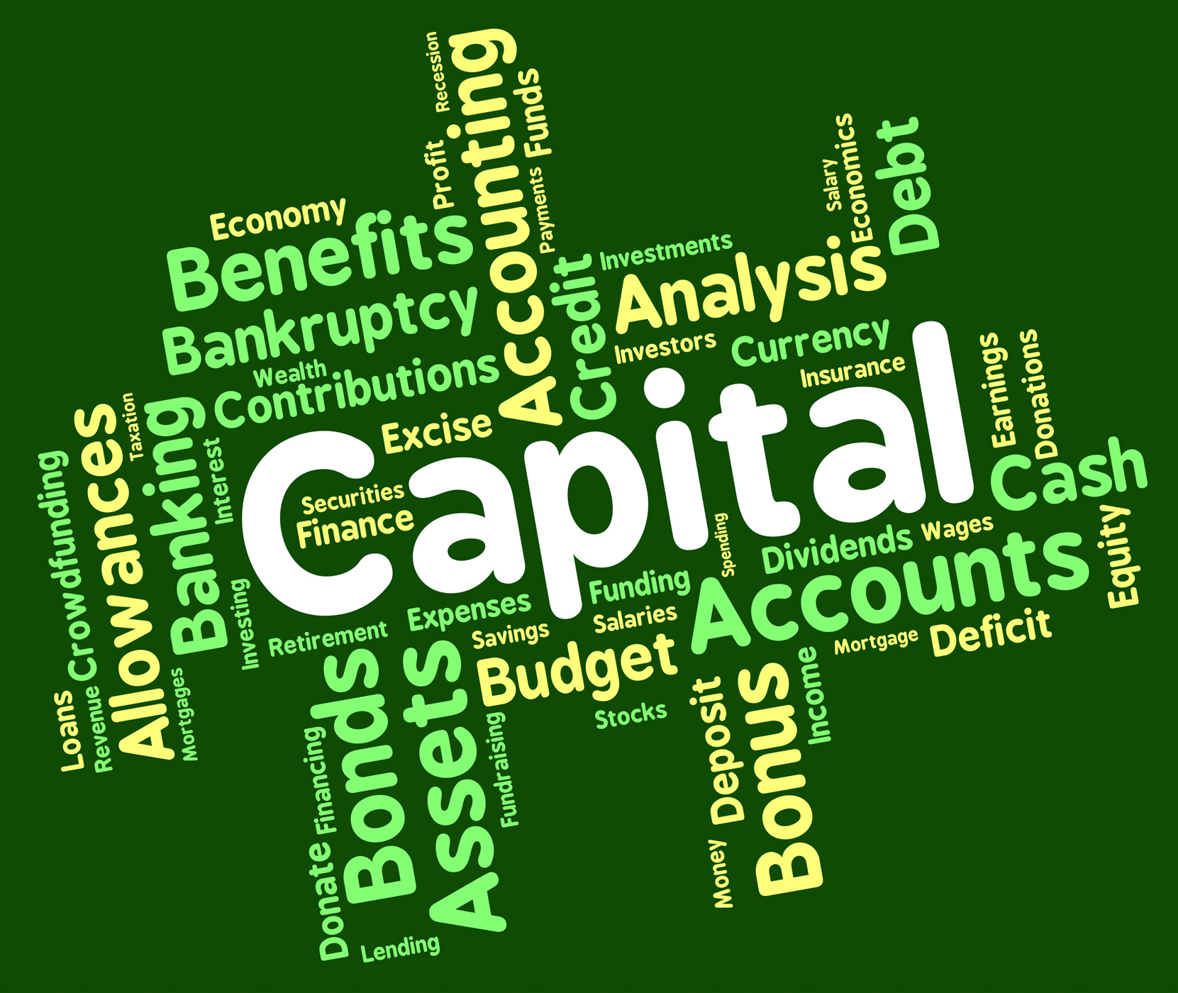 Capital Word Shows Rich Asset And Affluence, Affluence, Resources, Words, Wordcloud, HQ Photo