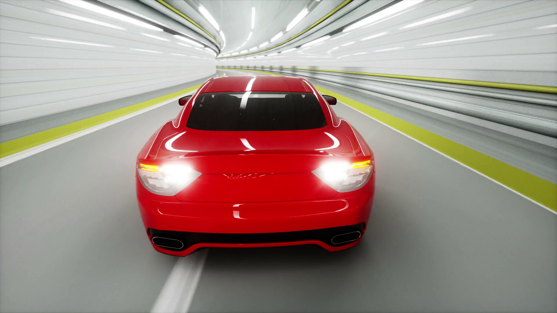 red sport car in a tunnel. fast driving. 3d animation. Stock Video ...