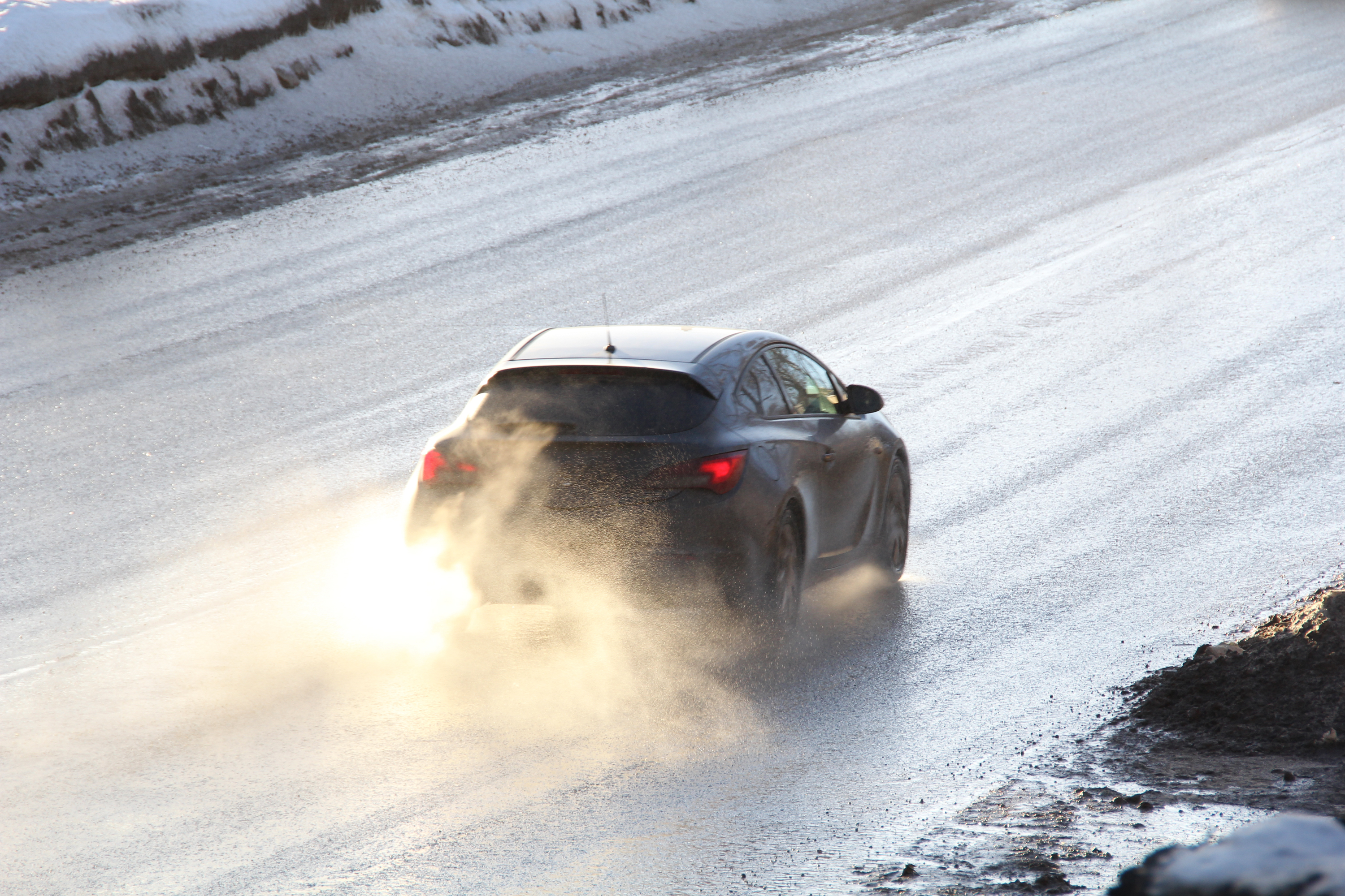Car on icy road photo