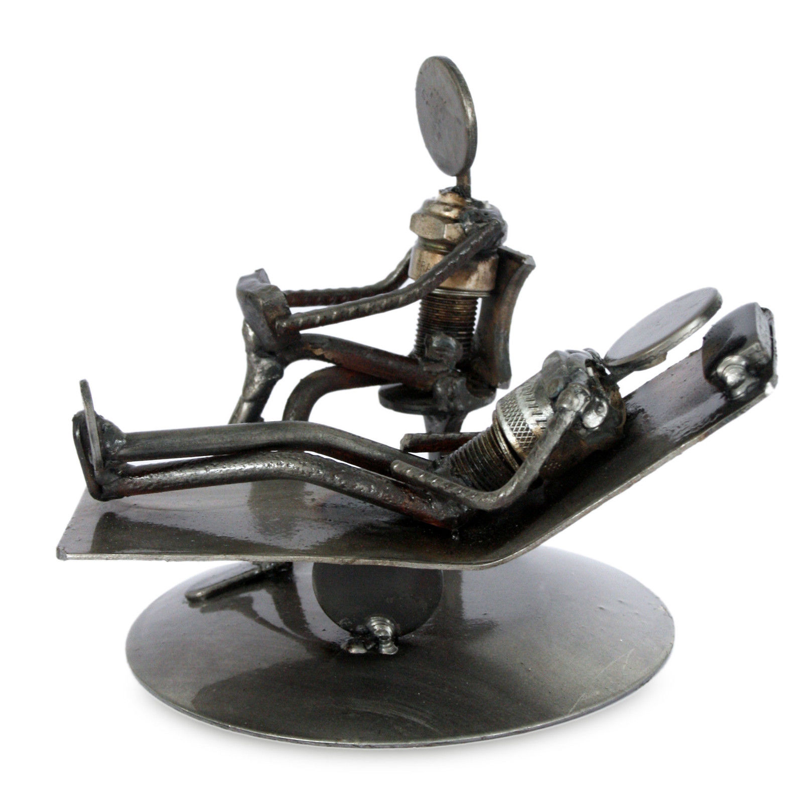 Iron Statuette Recyled Car Parts 'Rustic Psychotherapist' NOVICA ...