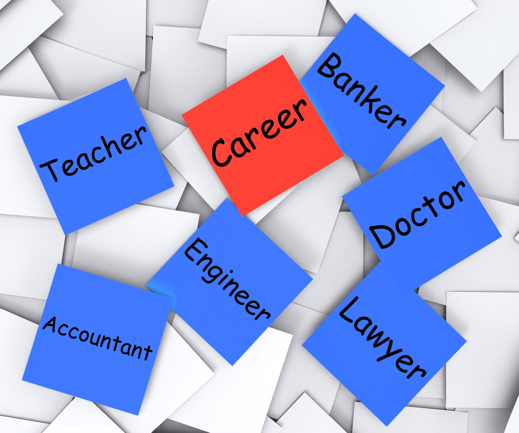 Career Post-It Note Shows Profession Or Line Of Work, Banker, Lineofwork, Teacher, Professional, HQ Photo