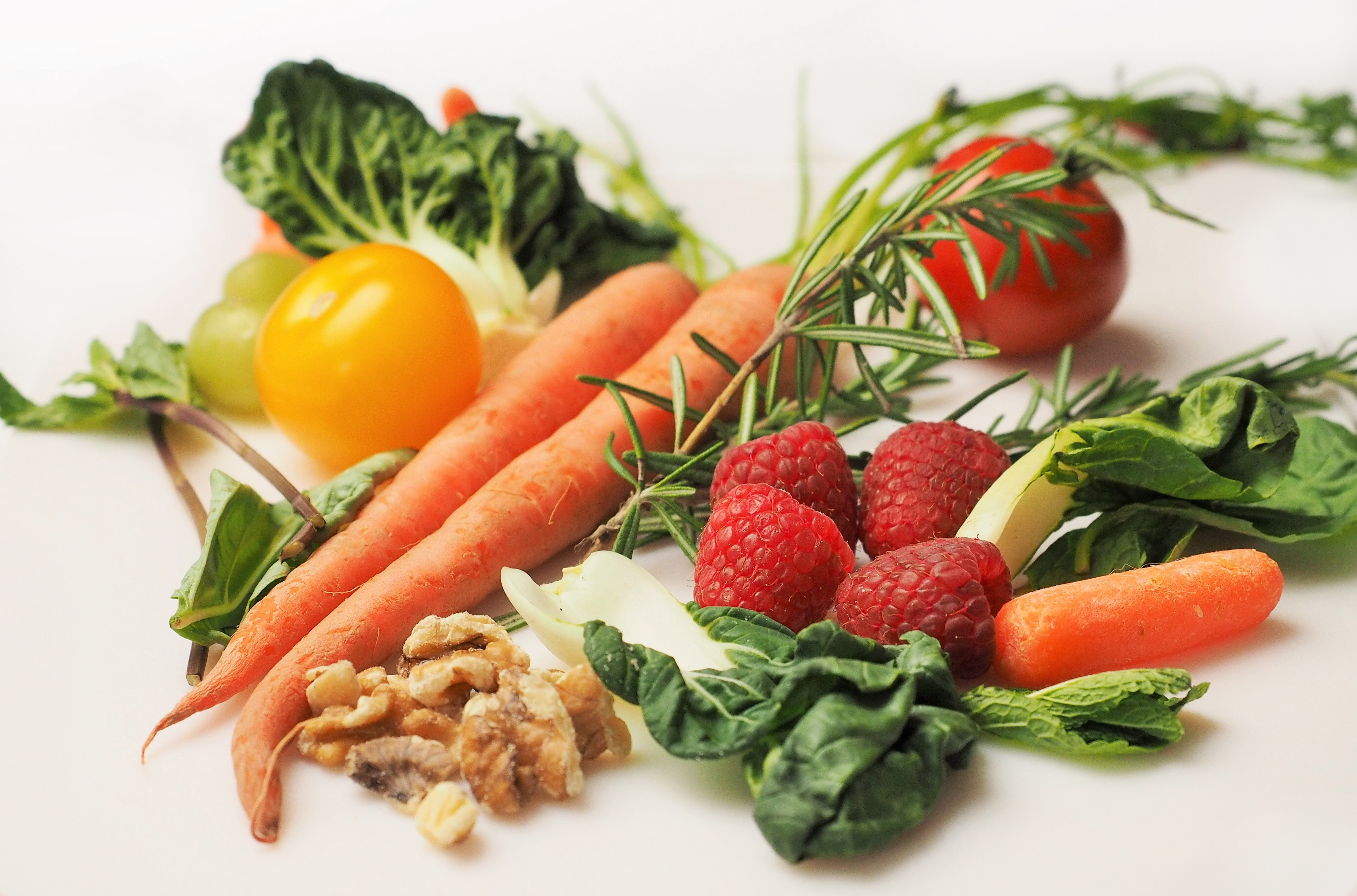 Carrots tomatoes vegetables and other fruits photo