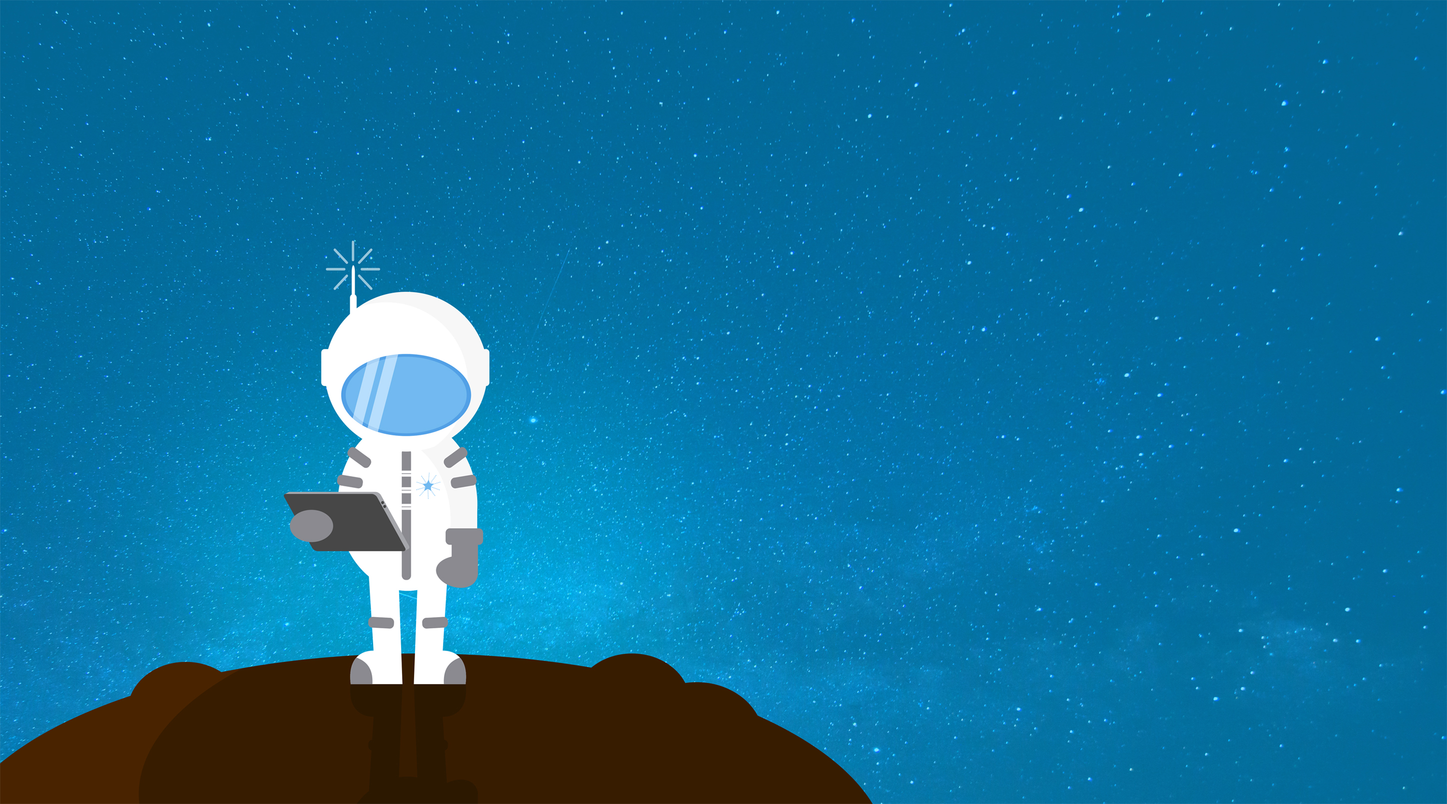 Cartoon astronaut communicating - with copyspace photo