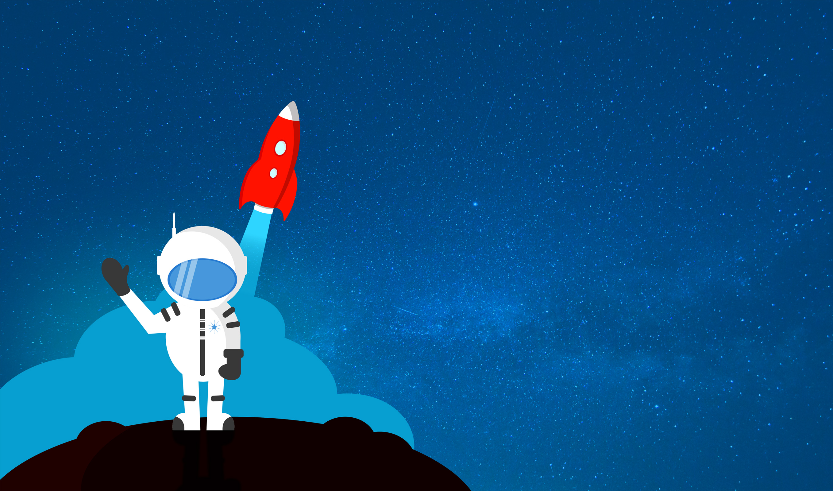 Cartoon Astronaut Waving Goodbye - With Copyspace, Alien, Planets, Science, Scene, HQ Photo