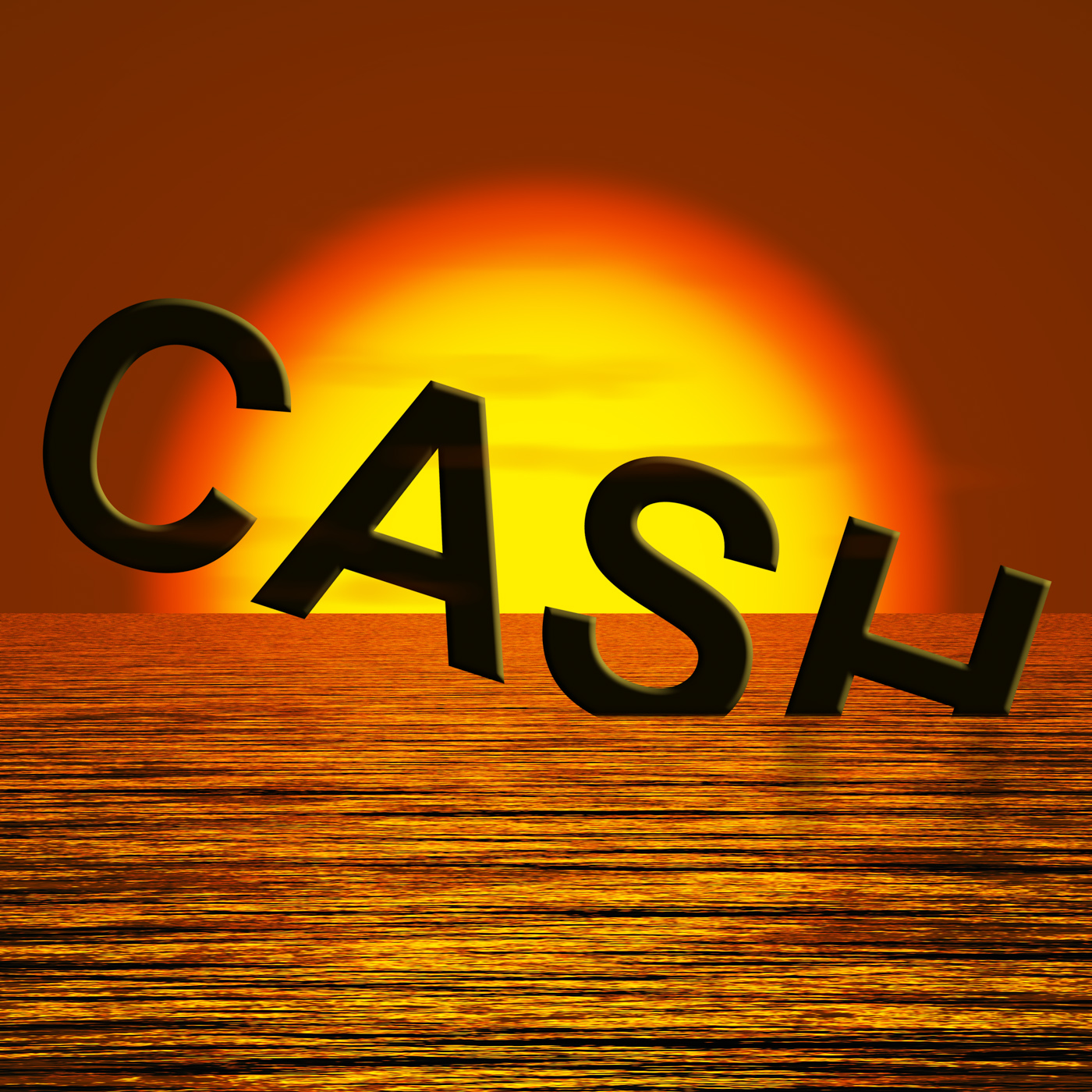 Cash sinking and sunset showing depression recession and economic down photo