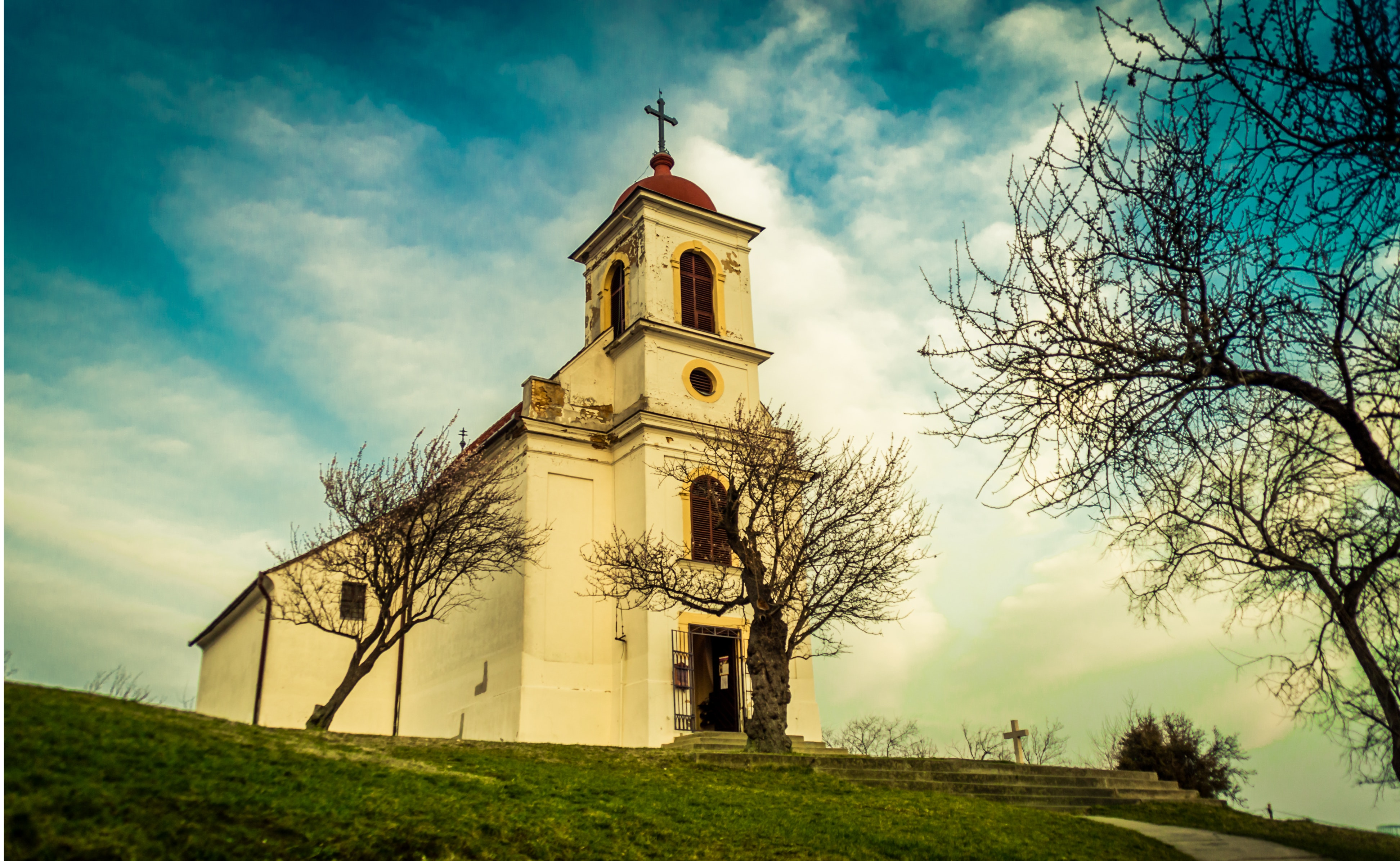 Cathedral under clouds near leafless tree photo