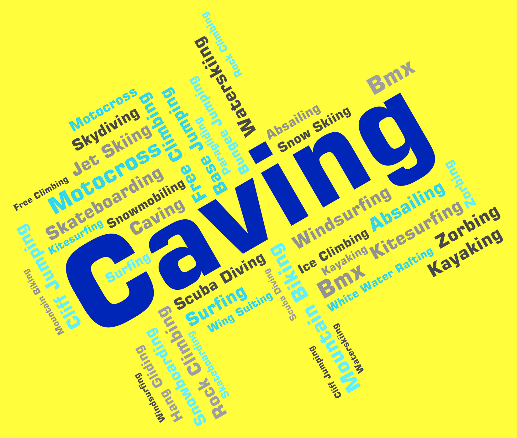 Caving words shows cave climbing and active photo