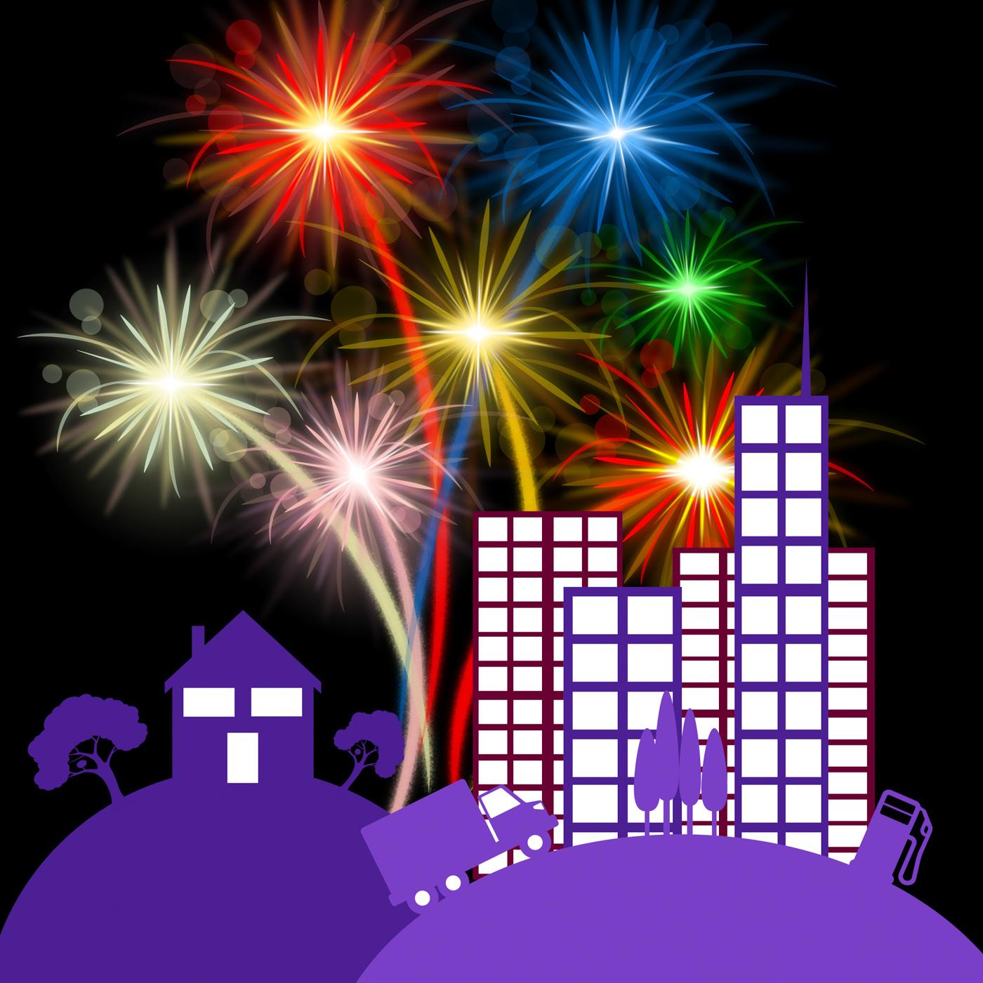 Celebration City Shows Night Sky And Buildings, Buildings, Festivity, Party, Nightsky, HQ Photo