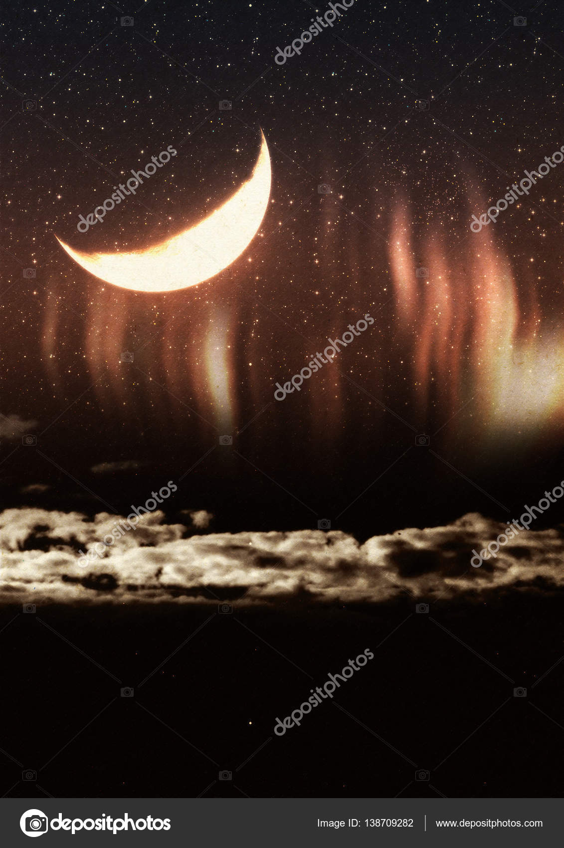 Crescent Moon and Grunge Clouds — Stock Photo © artshock #138709282