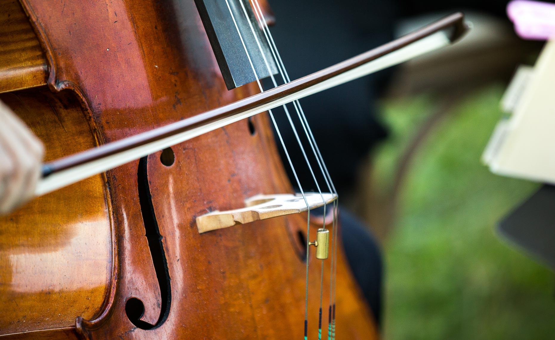 Closeup of cello from whistler wedding musician