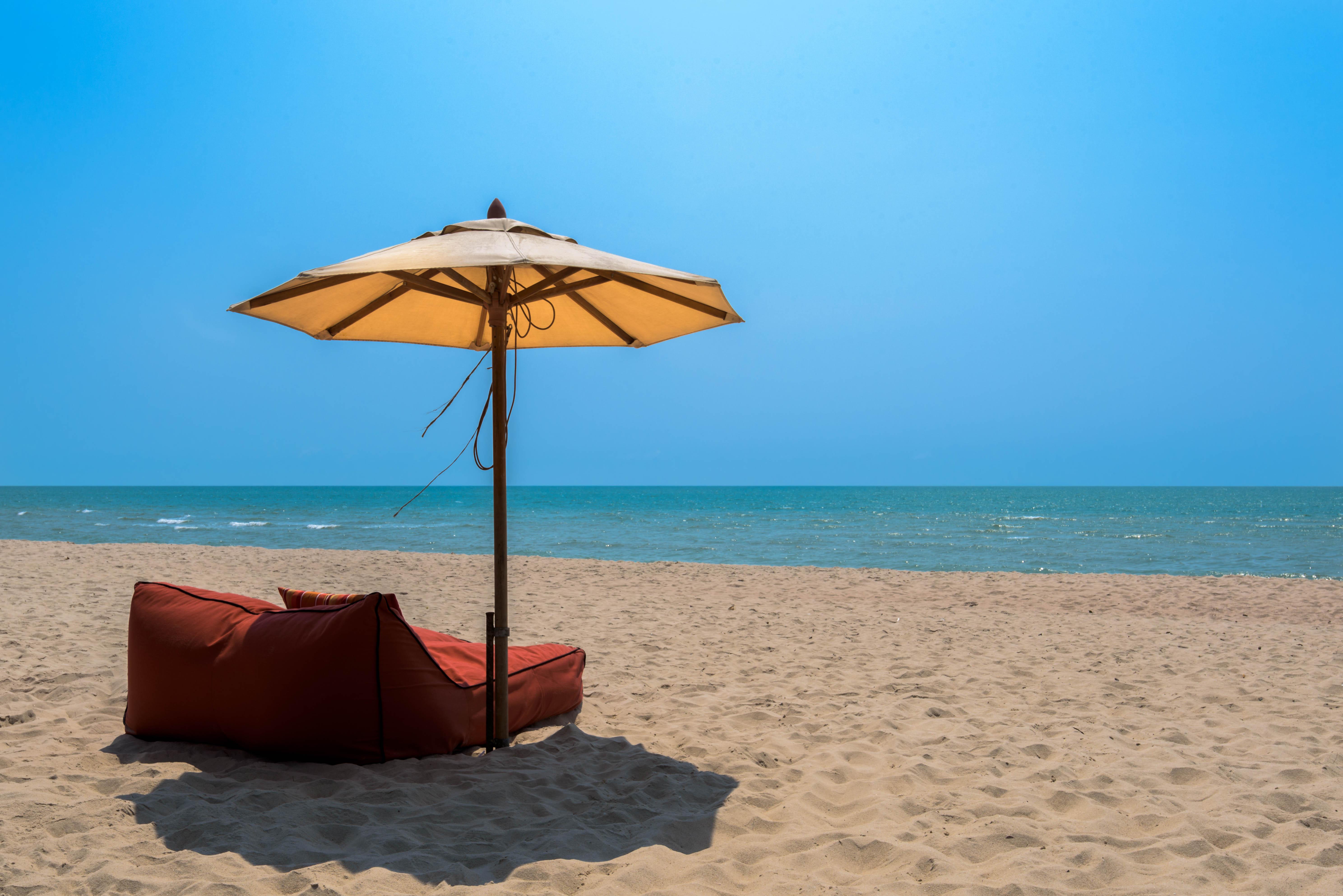 Cha Am Beach, Thailand, Beach, Relax, Vacation, Umbrella, HQ Photo
