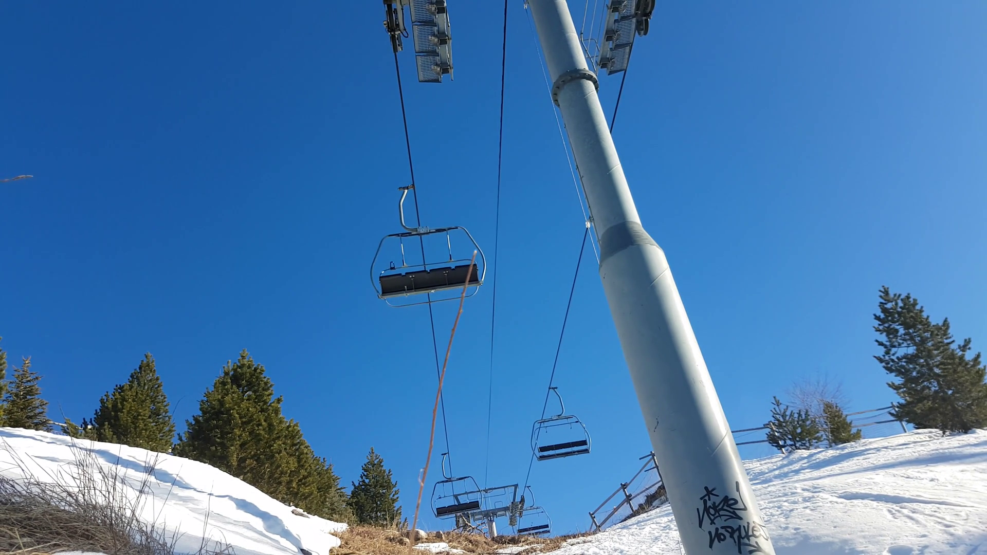 Empty Ski Lift Or Chairlift in Motion Over Snow Mountain - Ski ...