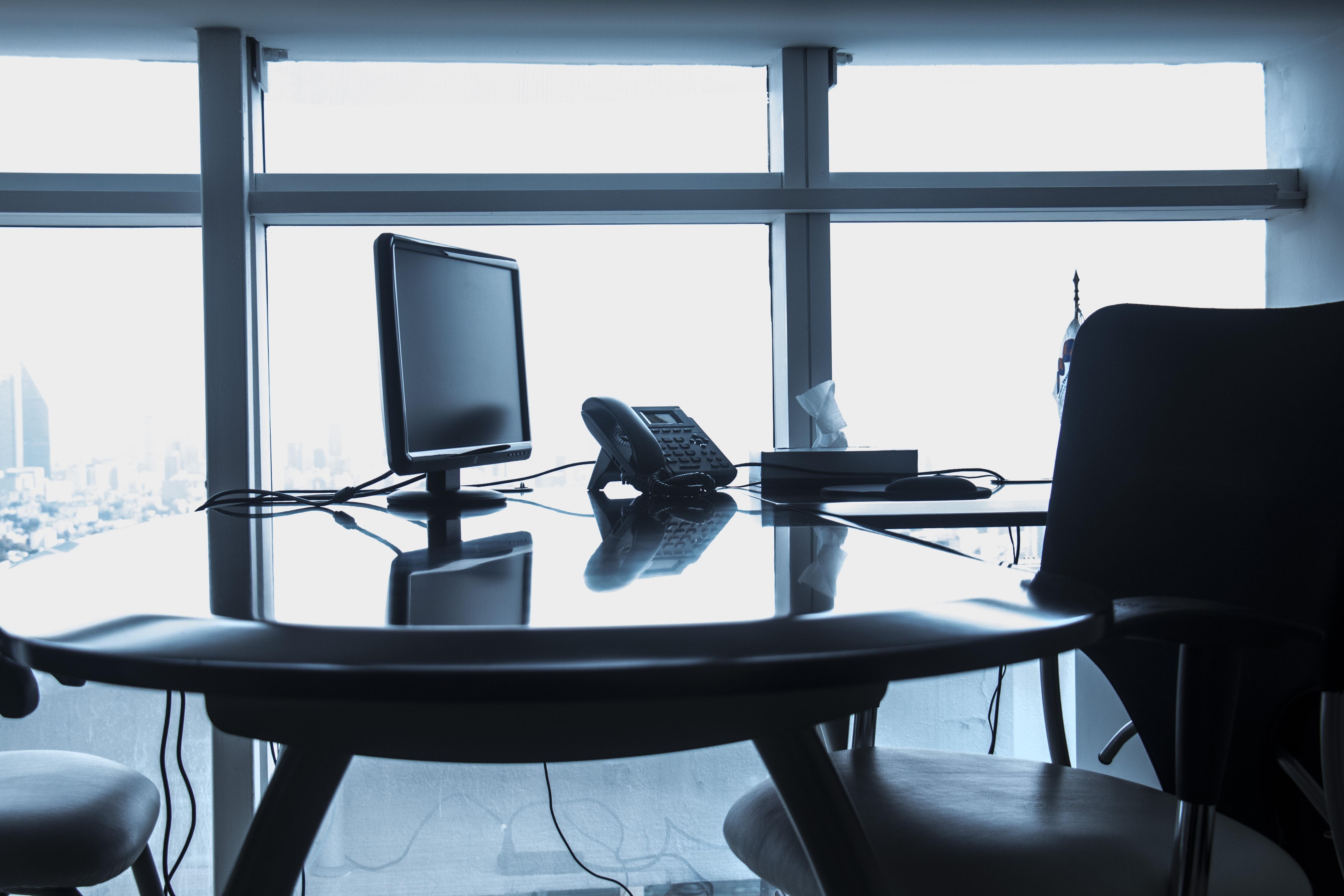 Chairs on Table Against Window, Minimalist, Work, Window, Telephone, HQ Photo