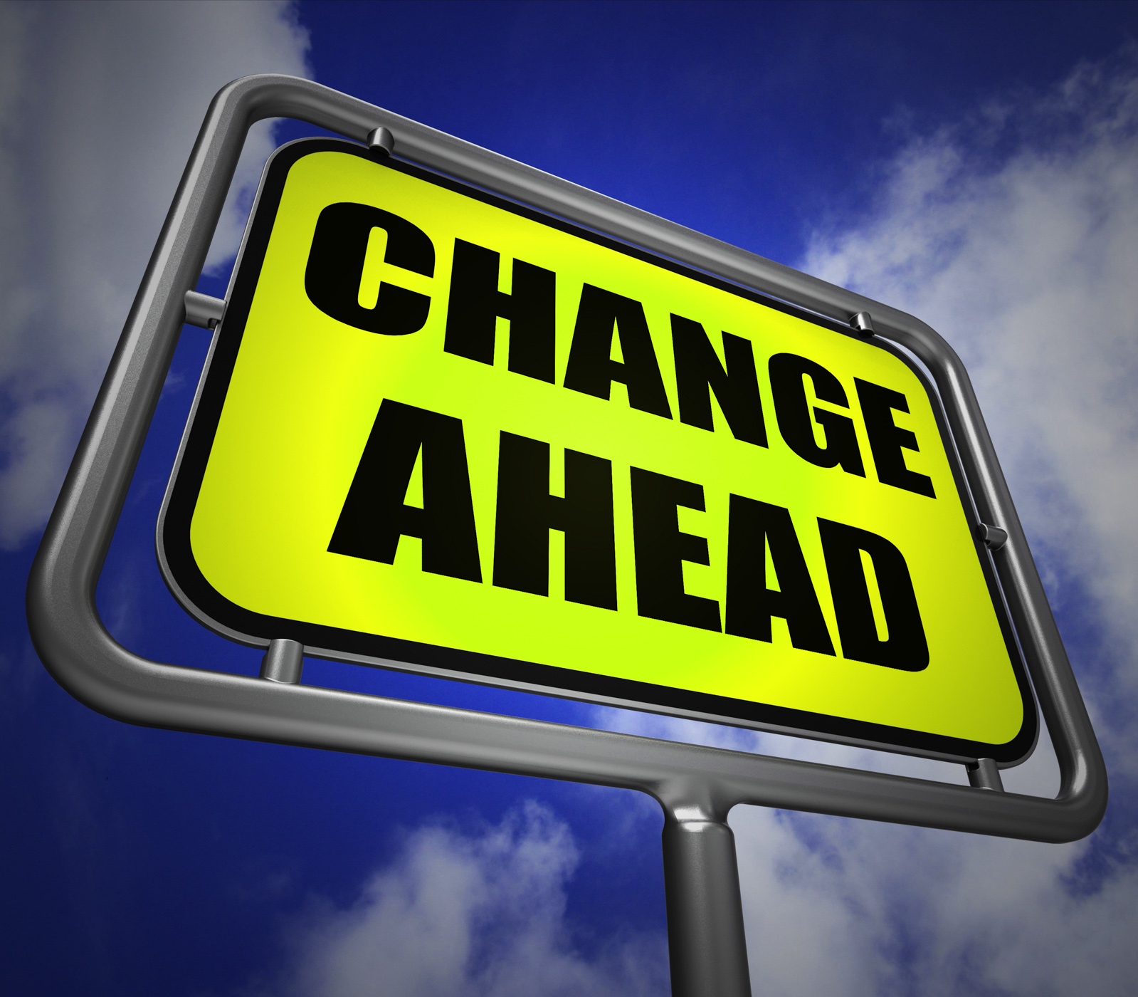 Change ahead signpost refers to a different and changing future photo
