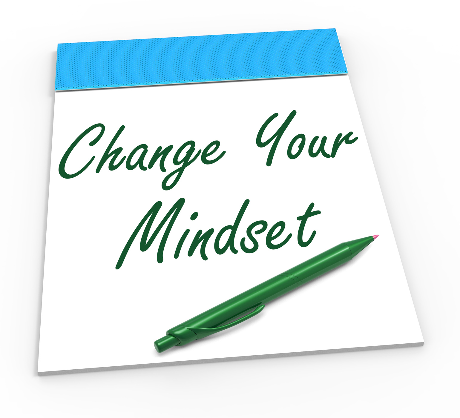 Change your mind set notebook shows optimism and reactive attitude photo