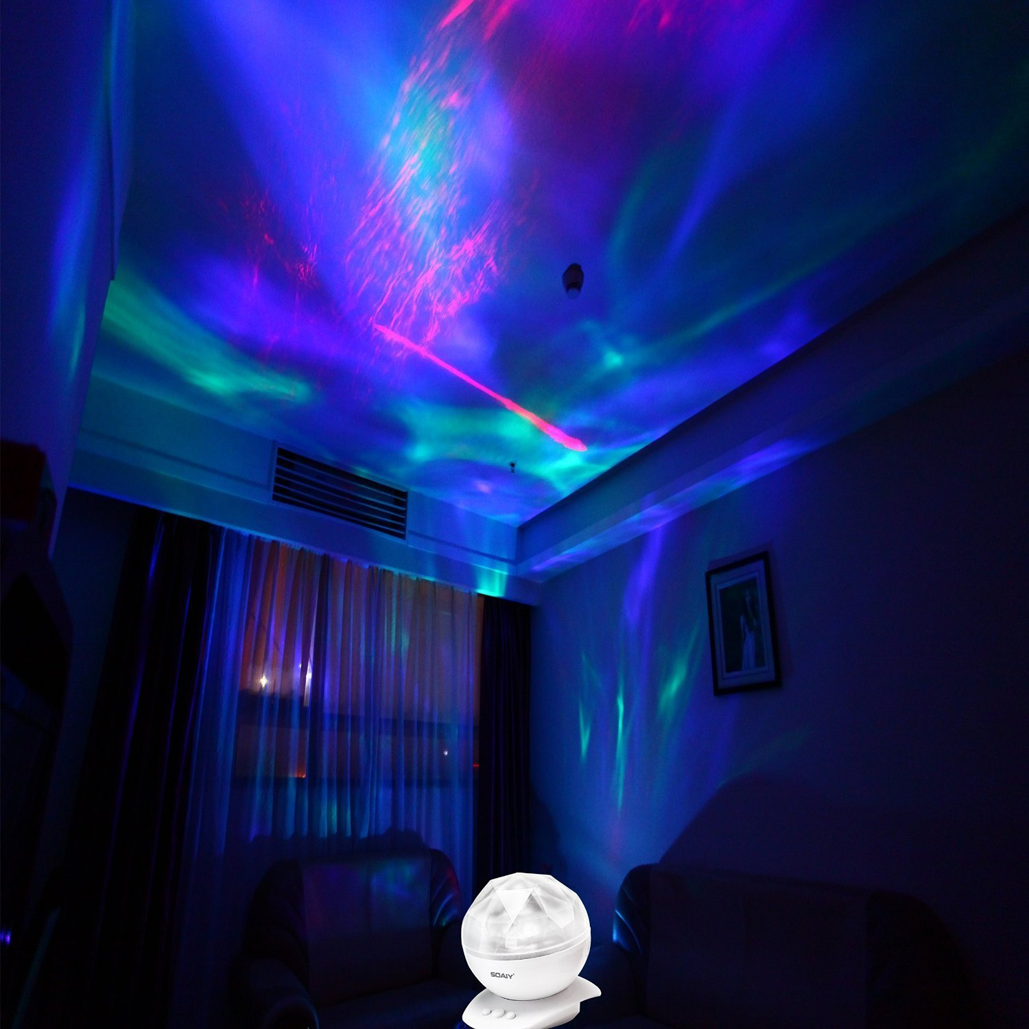 SOAIY Rotation Sleep Soothing Color Changing Aurora Night Light ...