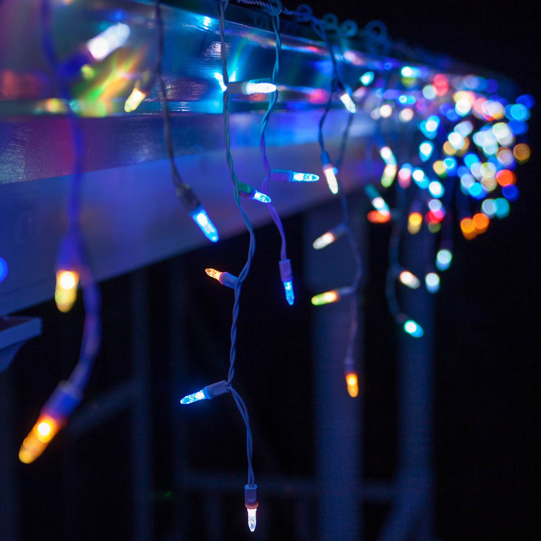 LED Christmas Lights - 50 M5 Multicolor Color Change LED Icicle Lights