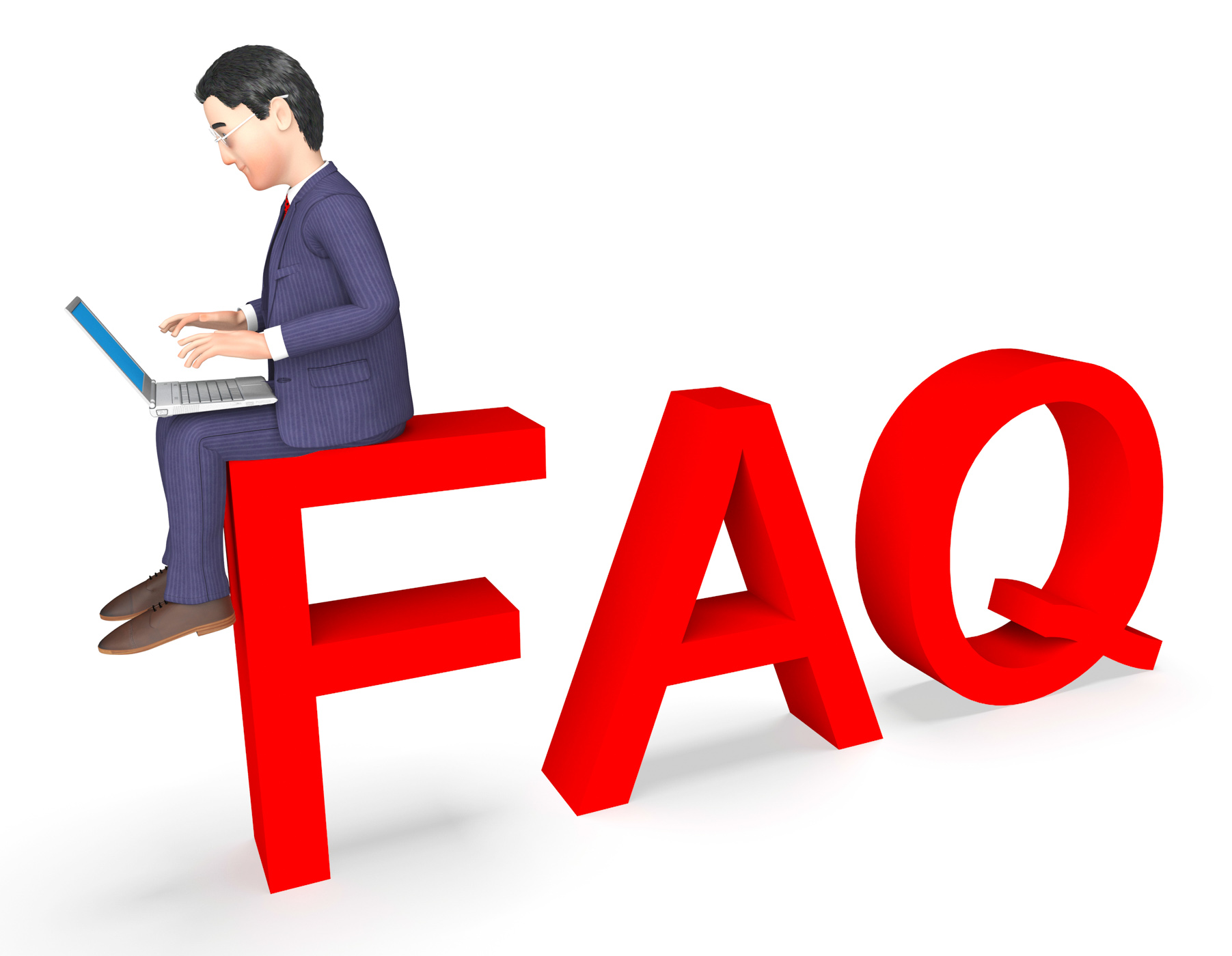 Character faq shows frequently asked questions and advice 3d rendering photo
