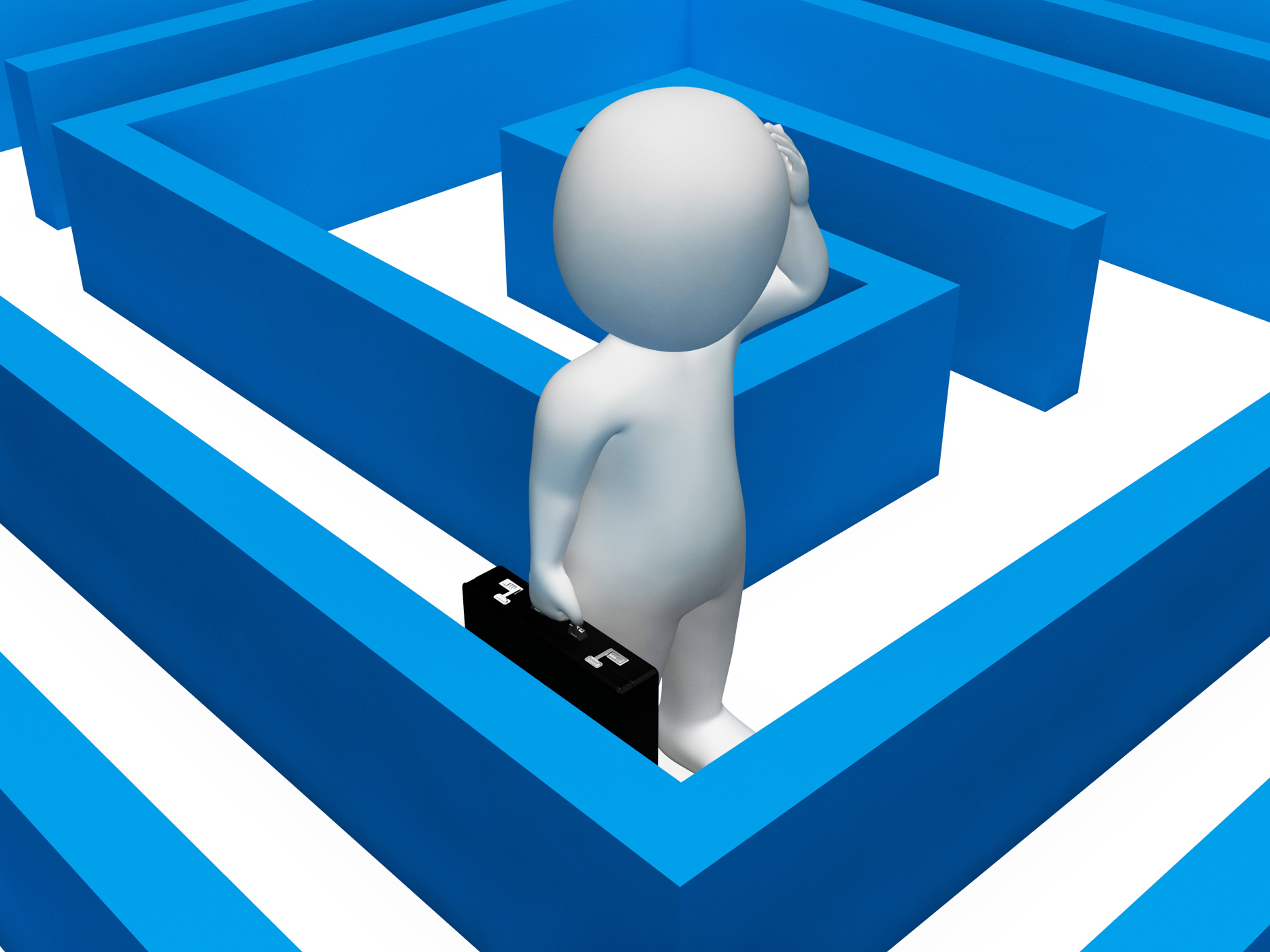 Character Lost Shows Decision Making And Adversity 3d Rendering, 3drendering, Perplexed, Man, Maze, HQ Photo