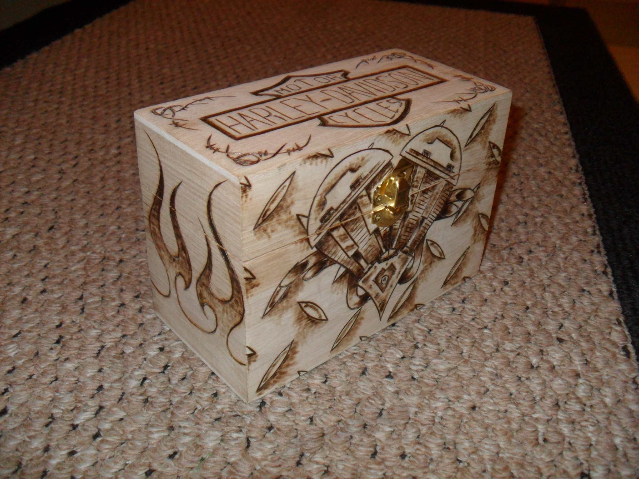 Custom wood burned box Harley Davidson theme | Custom wood burned ...