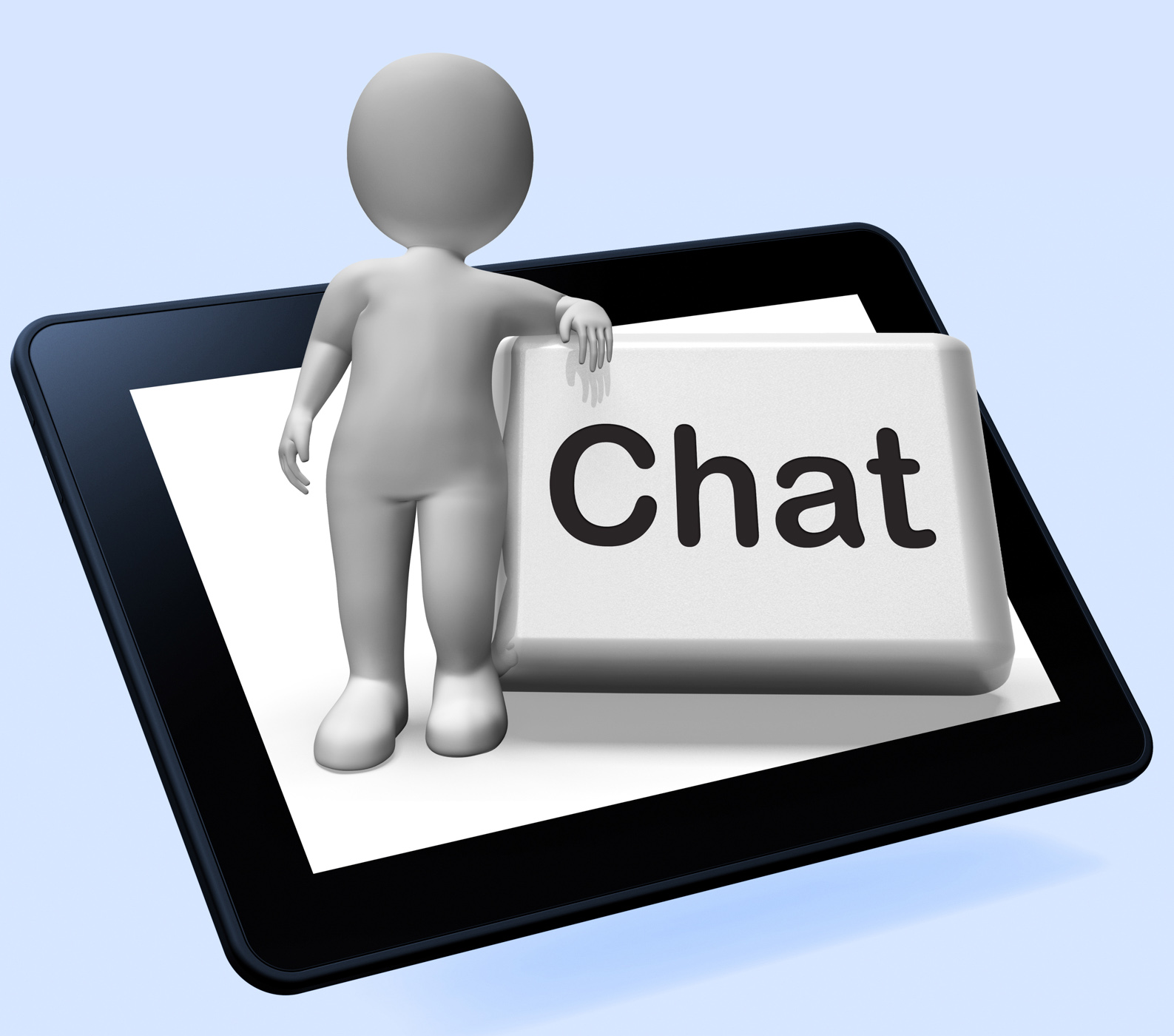 Chat button with character shows talking typing or texting photo