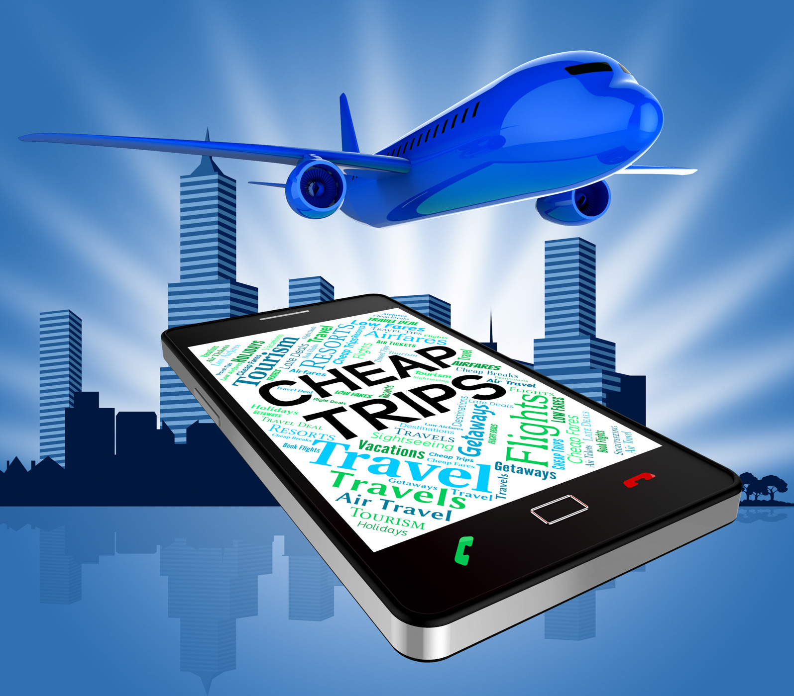 Cheap trips represents low cost and aircraft photo