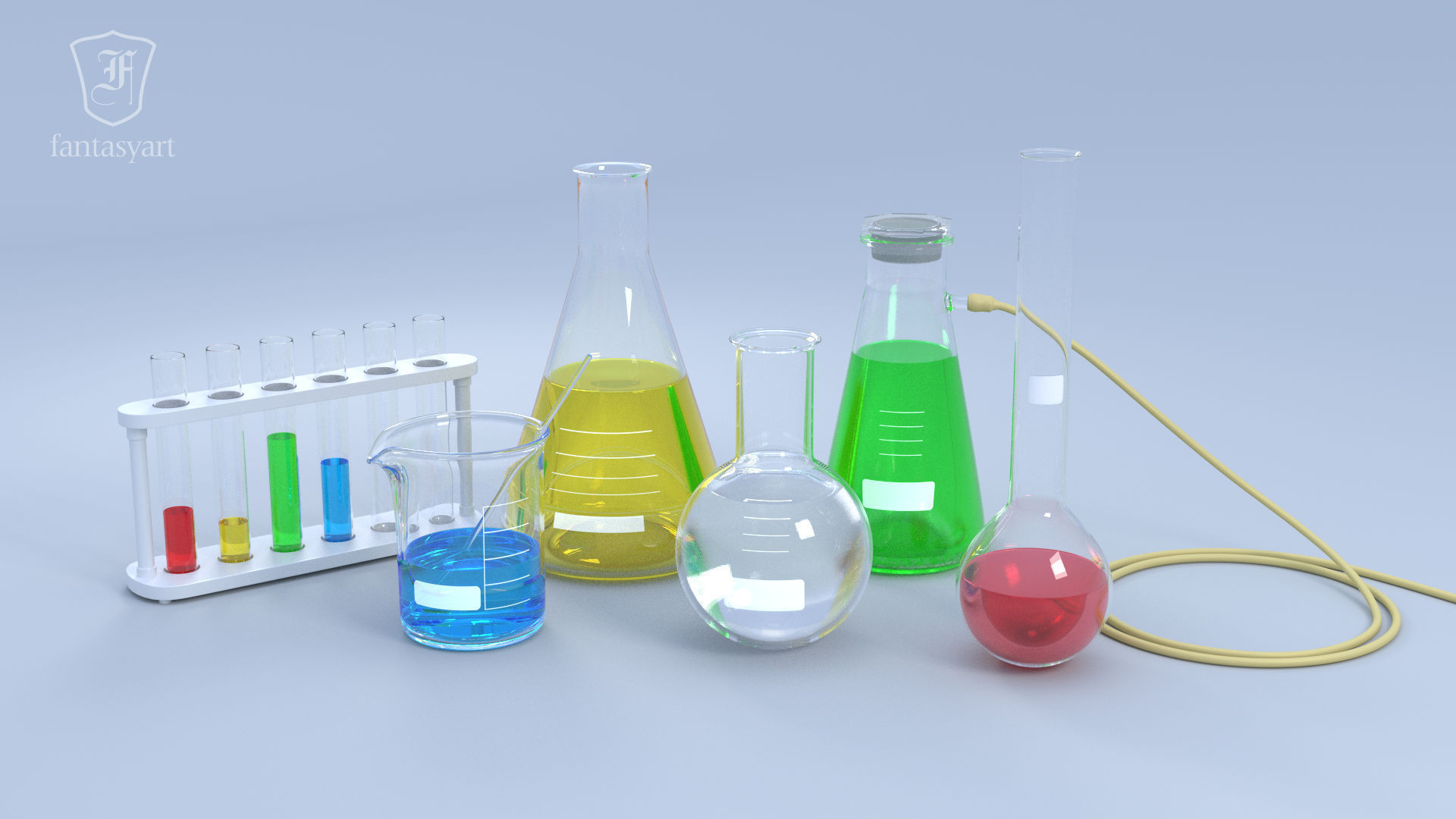 3D Chemical Laboratory Glassware Set | CGTrader