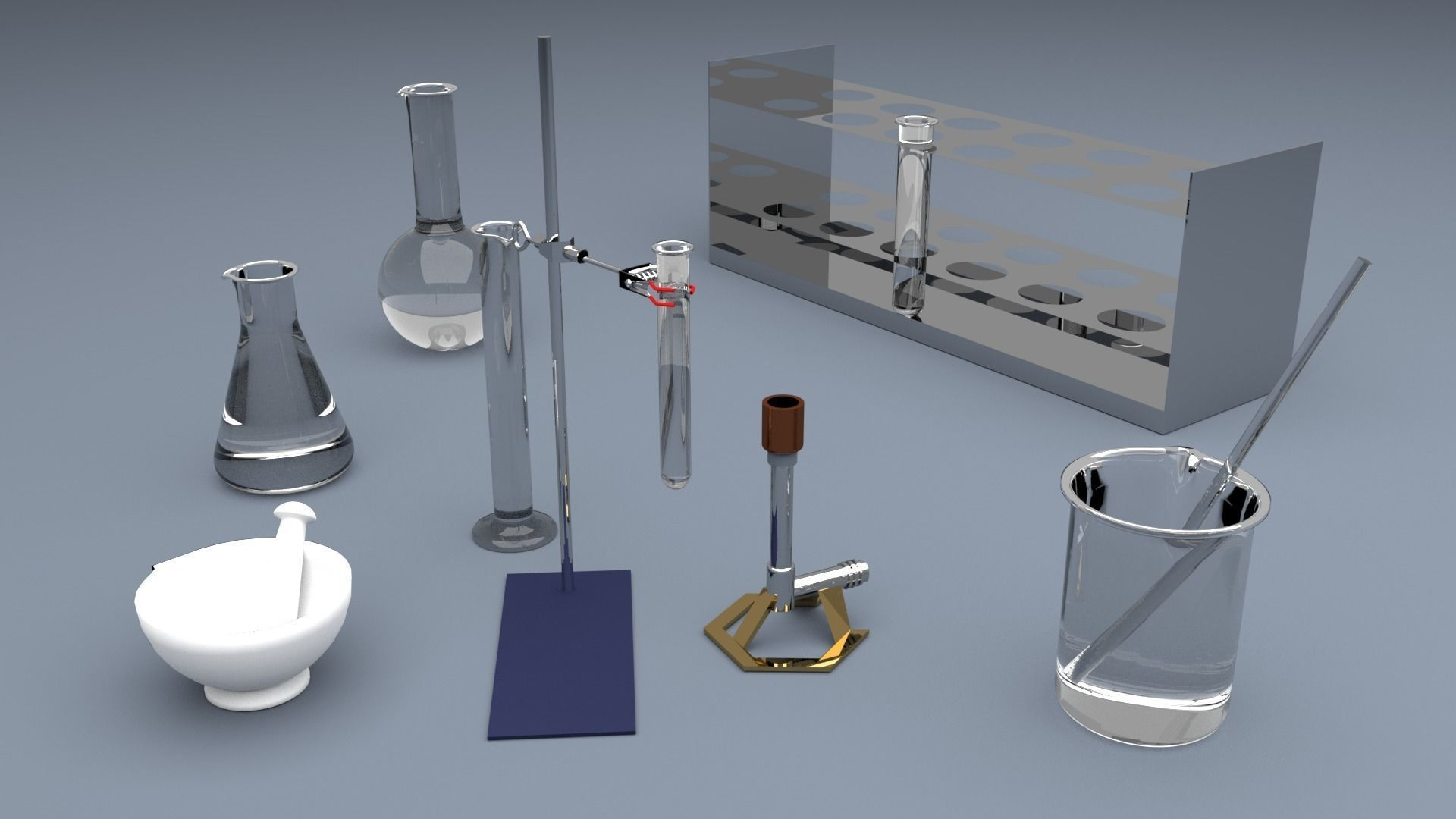 3D model CHEMISTRY AND LAB SET | CGTrader