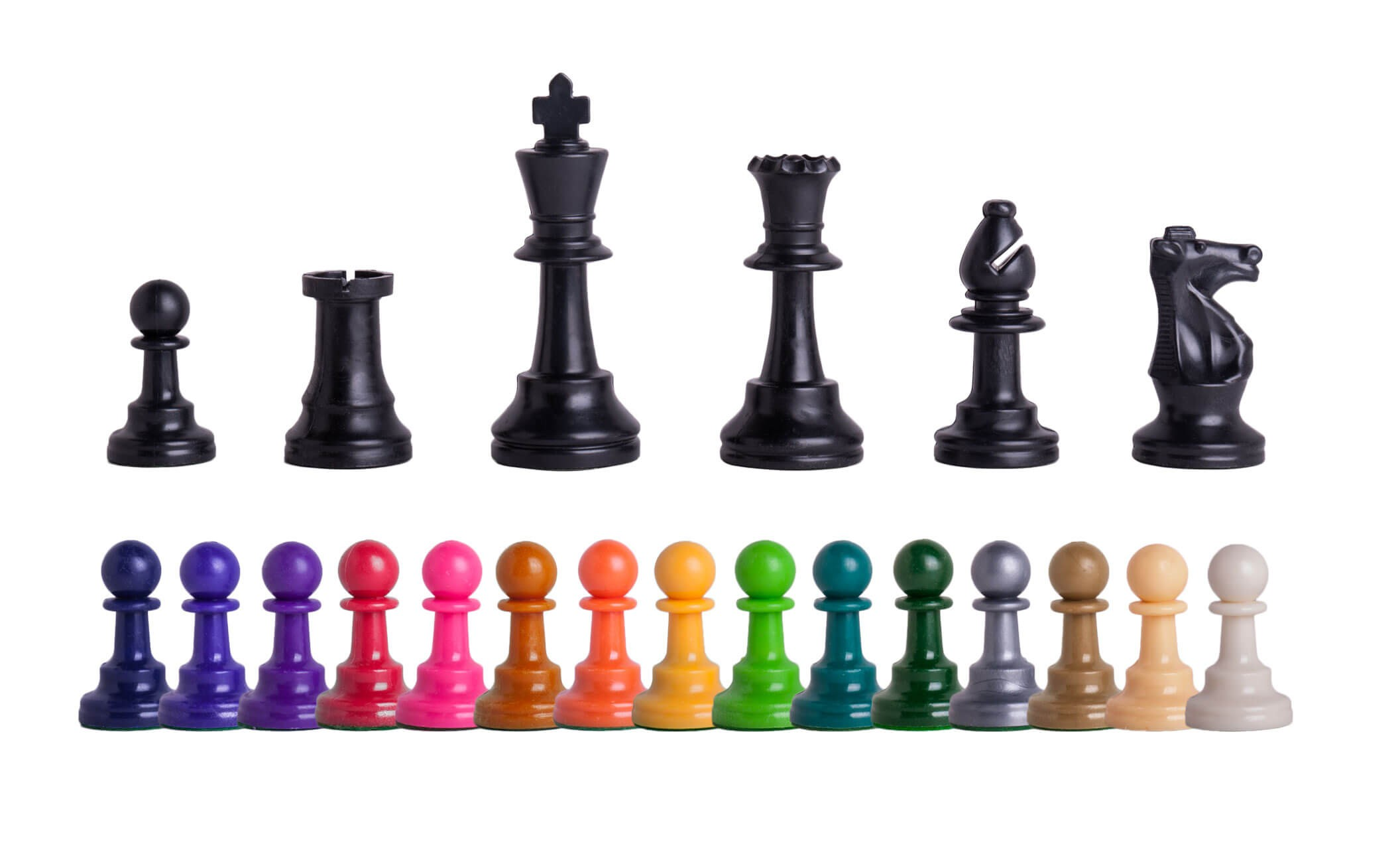 Triple Weighted Colored Regulation Plastic Chess Pieces - 3.75