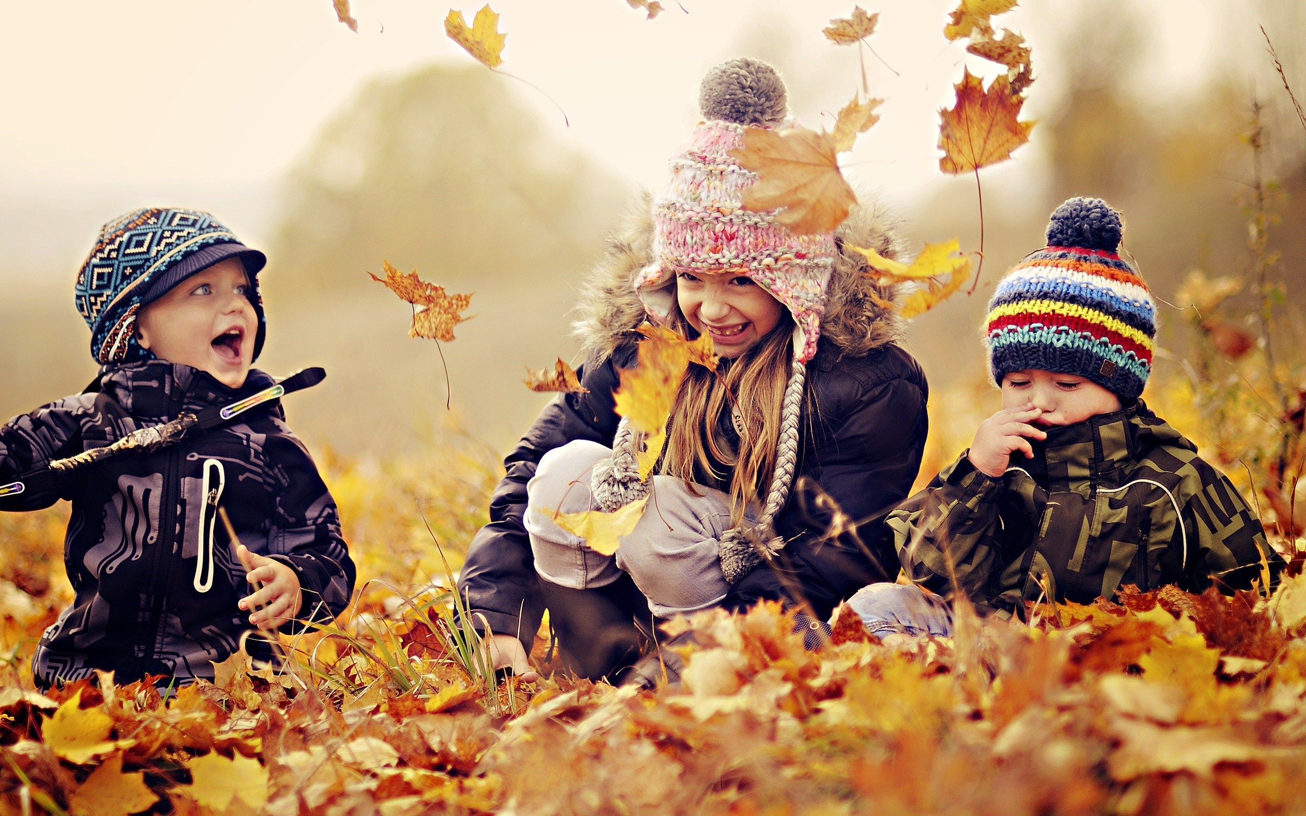 Happy Kids Nature Autumn Leaves Photo HD Wallpaper - FreeHDWalls ...