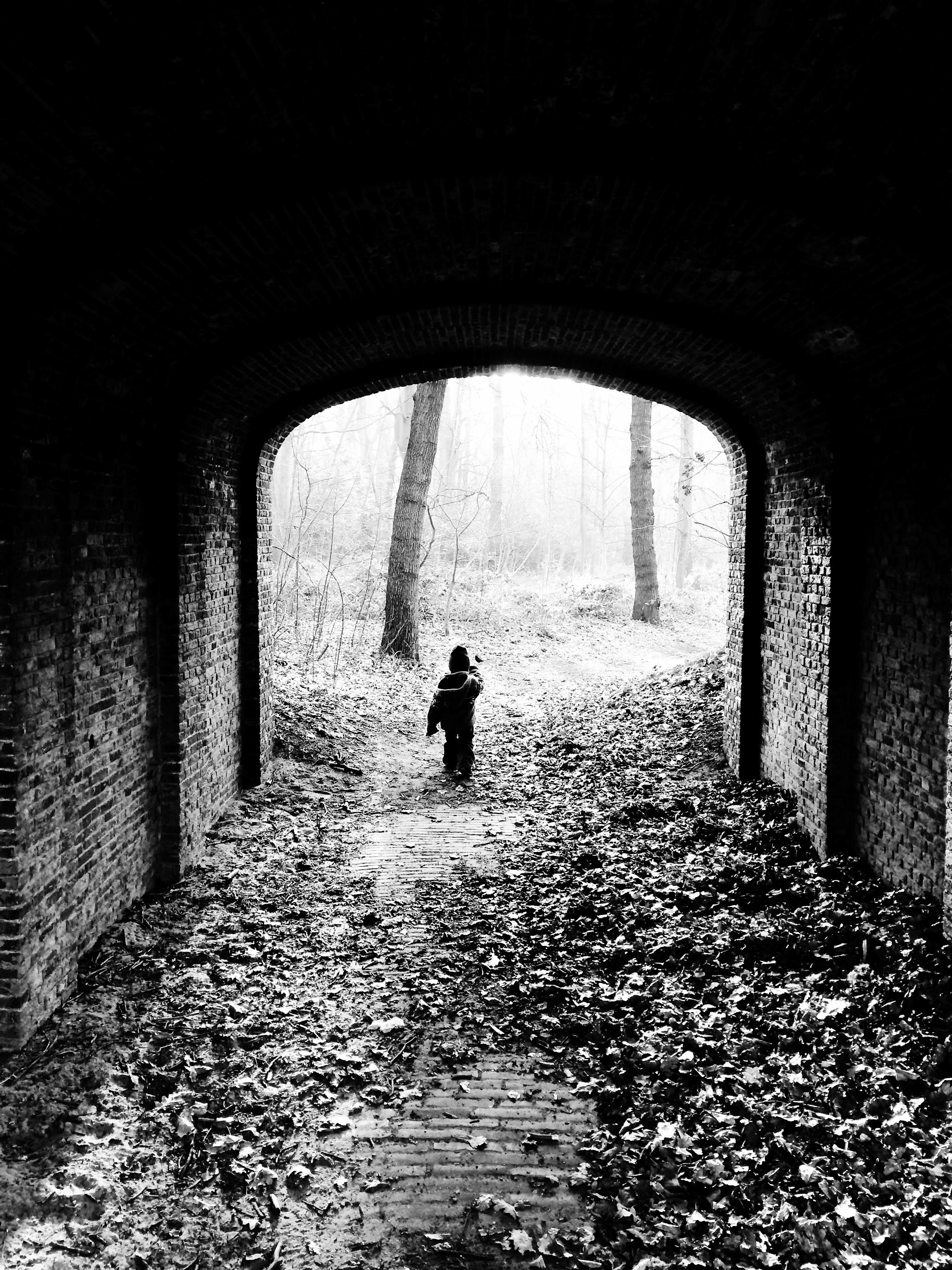 Child walking under bridge in forest photo