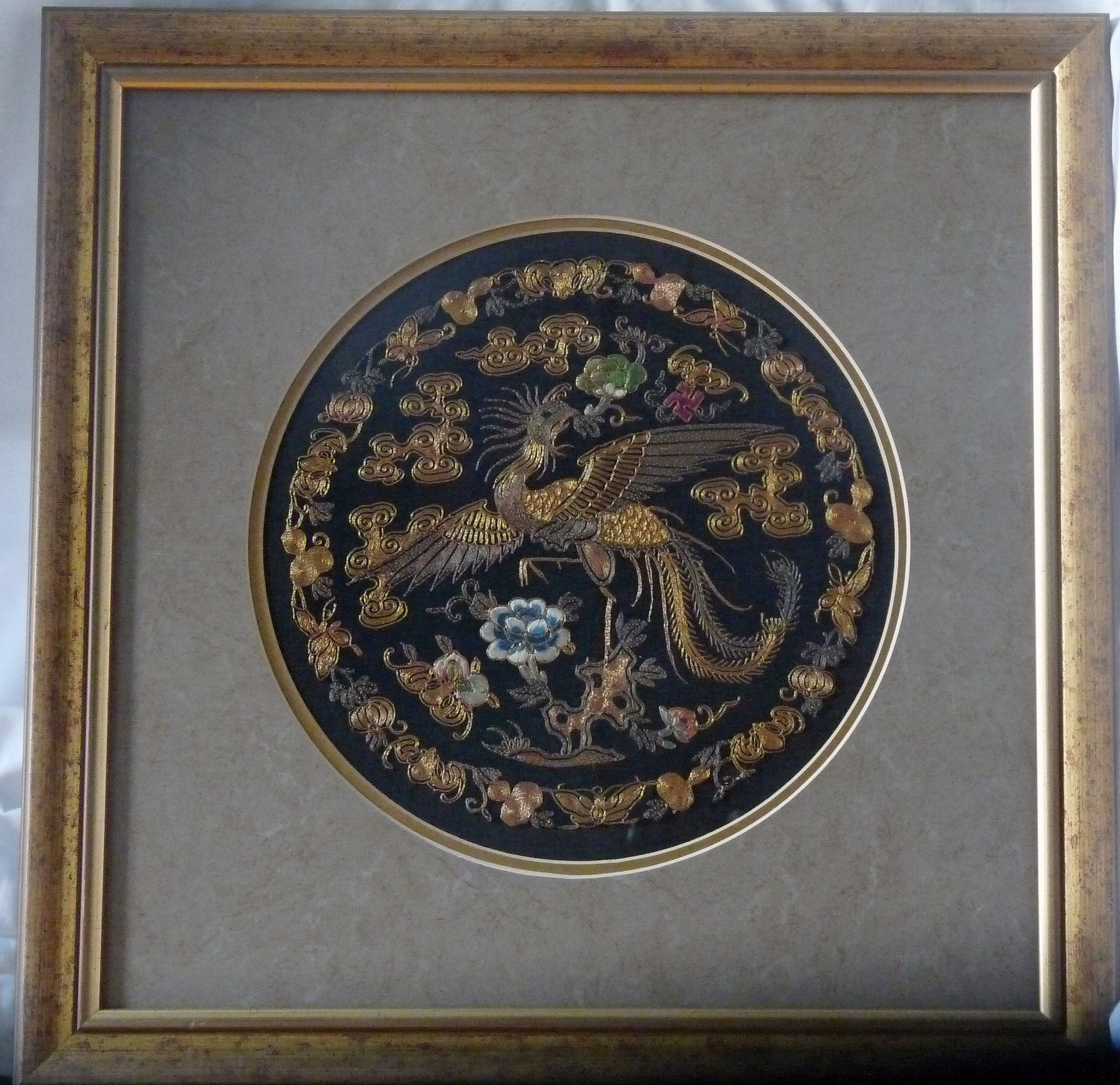 Chinese Silk and Gilt Antique Embroidered Roundel by QING DYNASTY ...