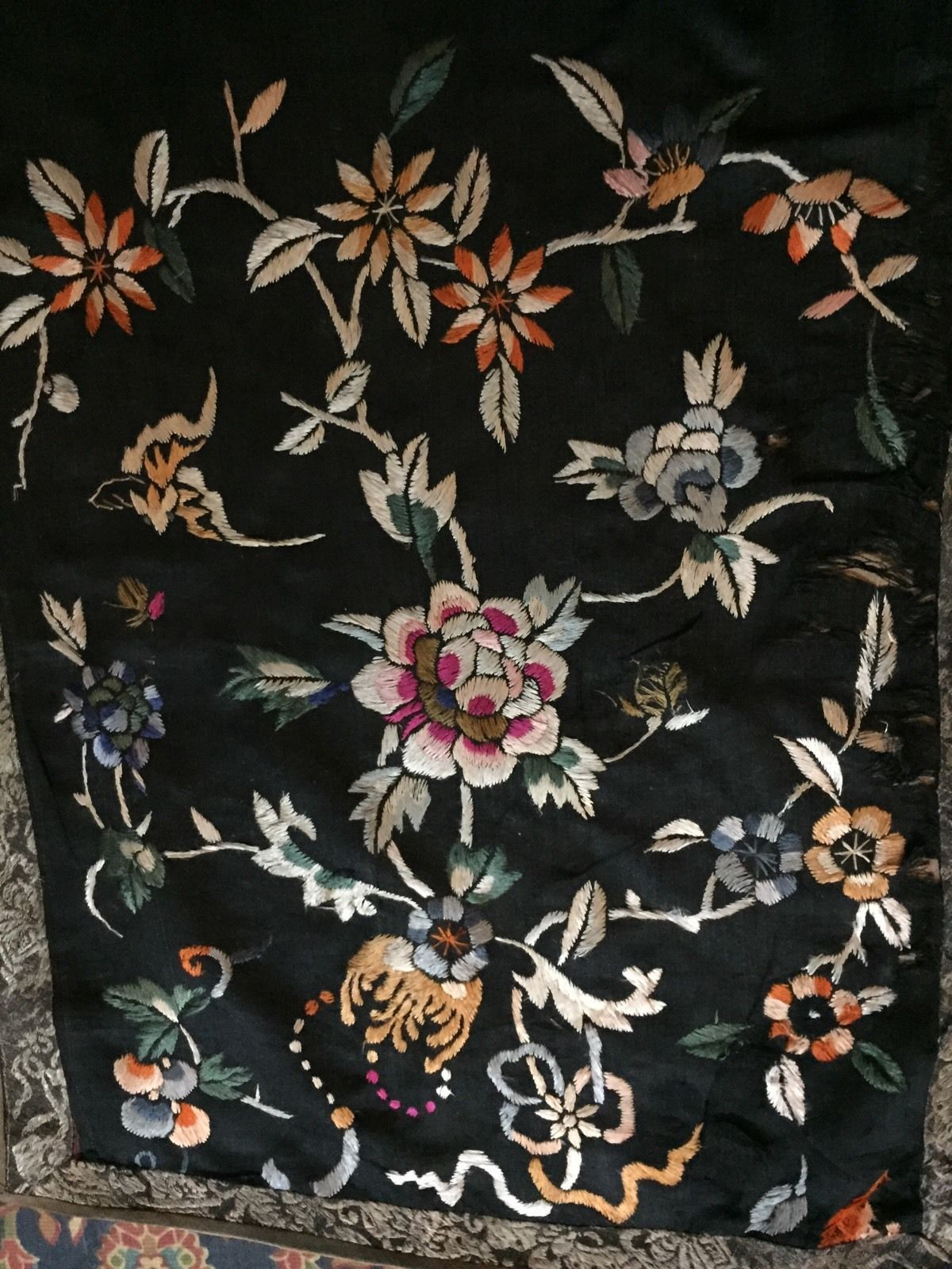Antique Chinese Hand Embroidery Scenery,Banner,Wall Hanging On Silk ...
