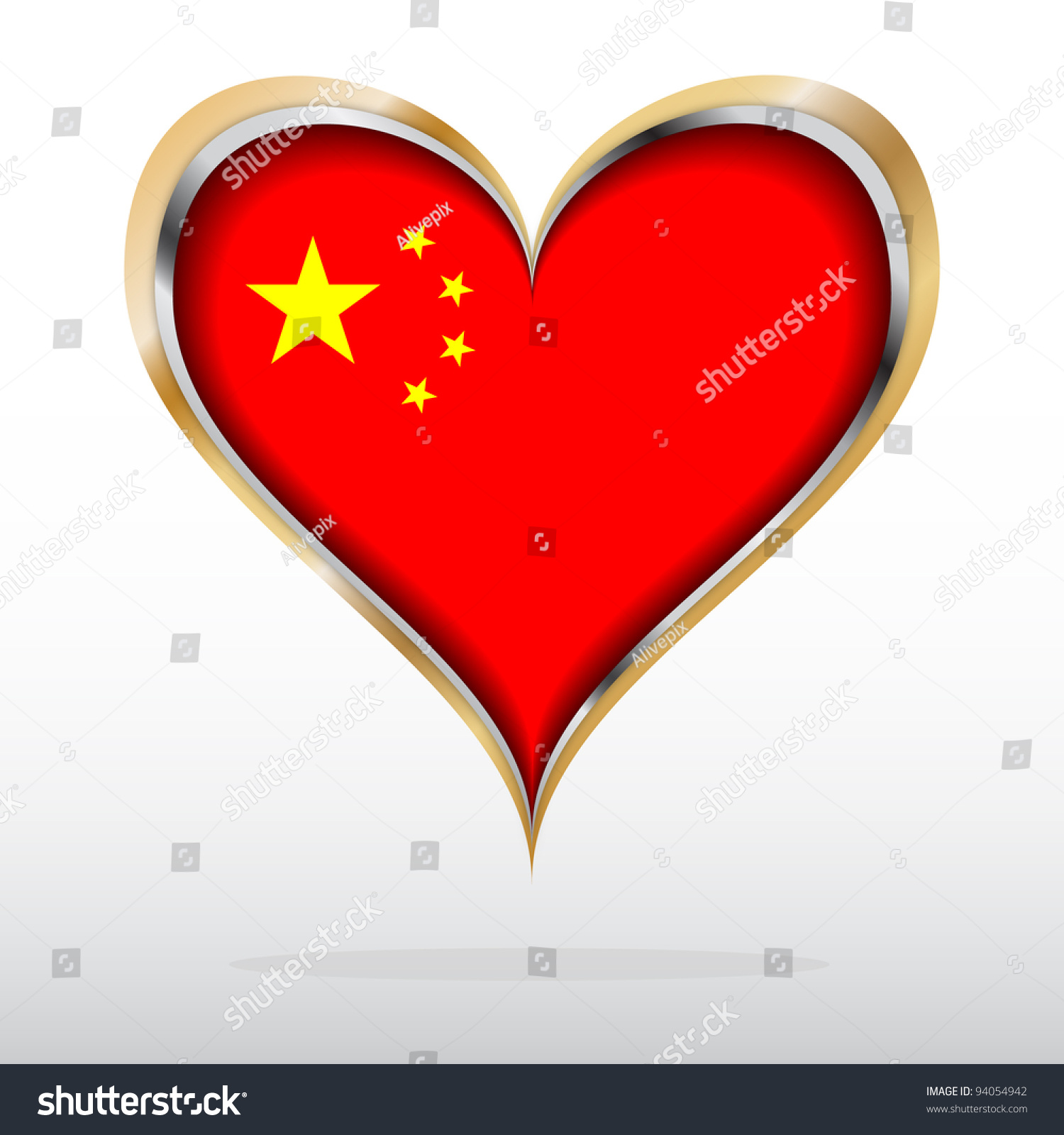 Vector Illustration Chinese Flag Golden Heart Stock Vector 94054942 ...