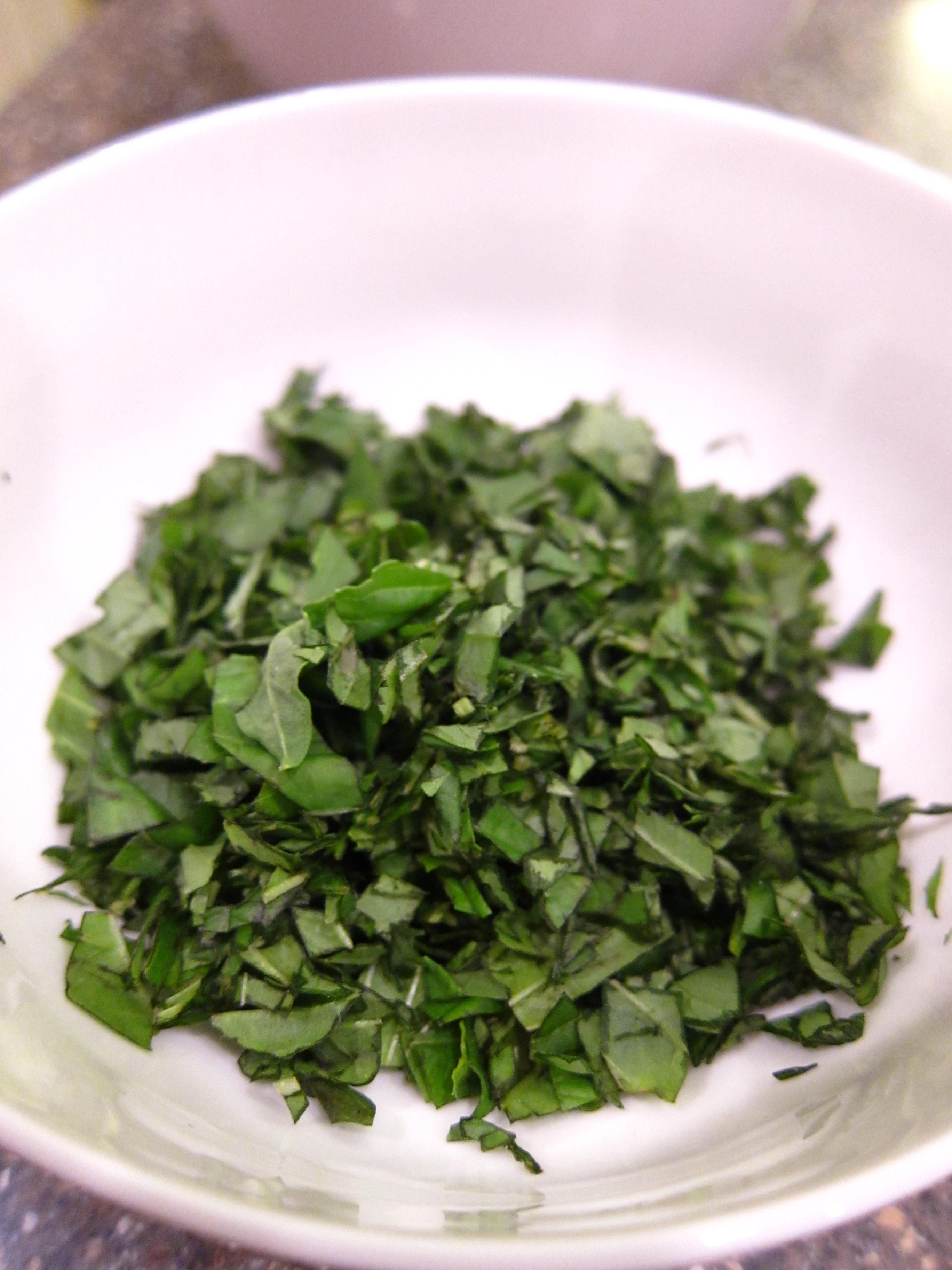 Chopped basil photo