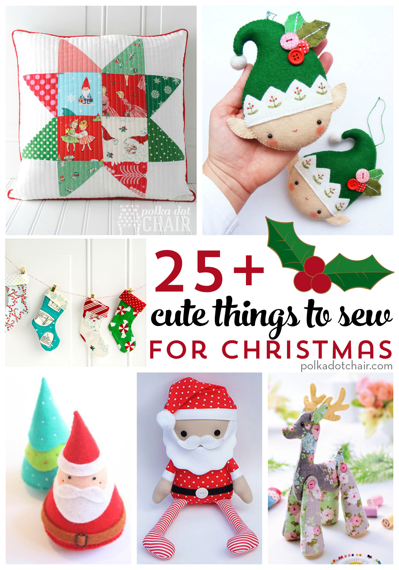 More than 25 Cute Things to Sew for Christmas - The Polka Dot Chair