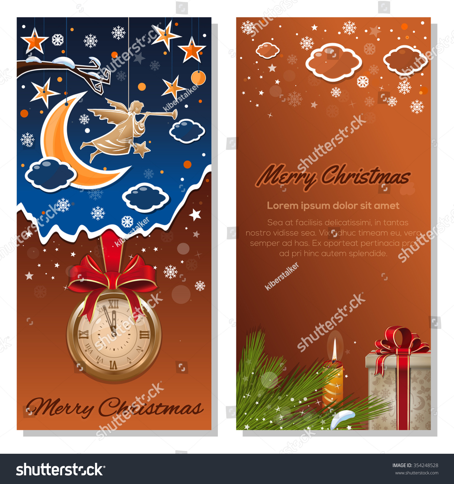 Christmas Angel Christmas Night Winter Forest Stock Vector 354248528 ...