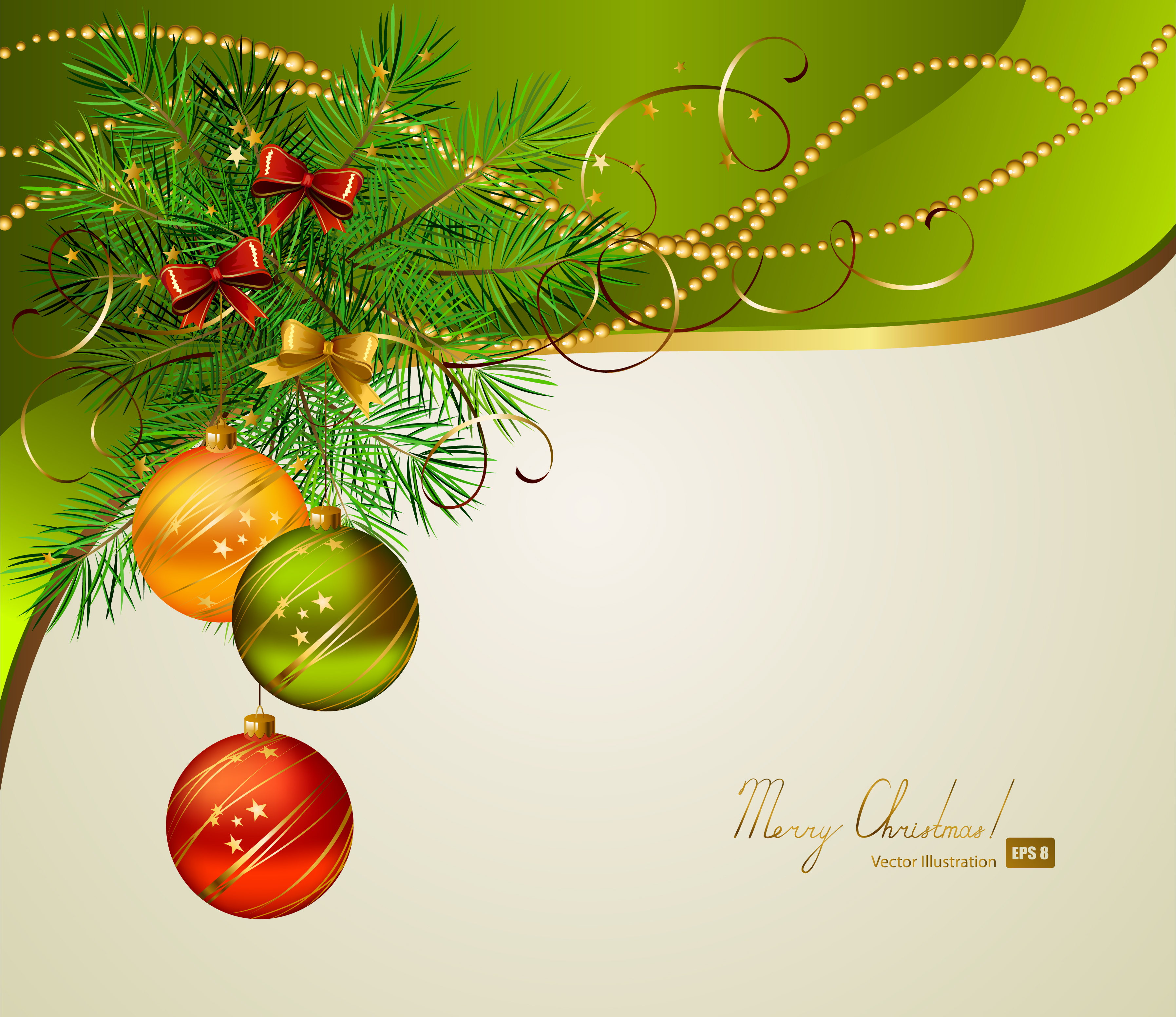 Beautiful christmas background 01 vector Free Vector / 4Vector